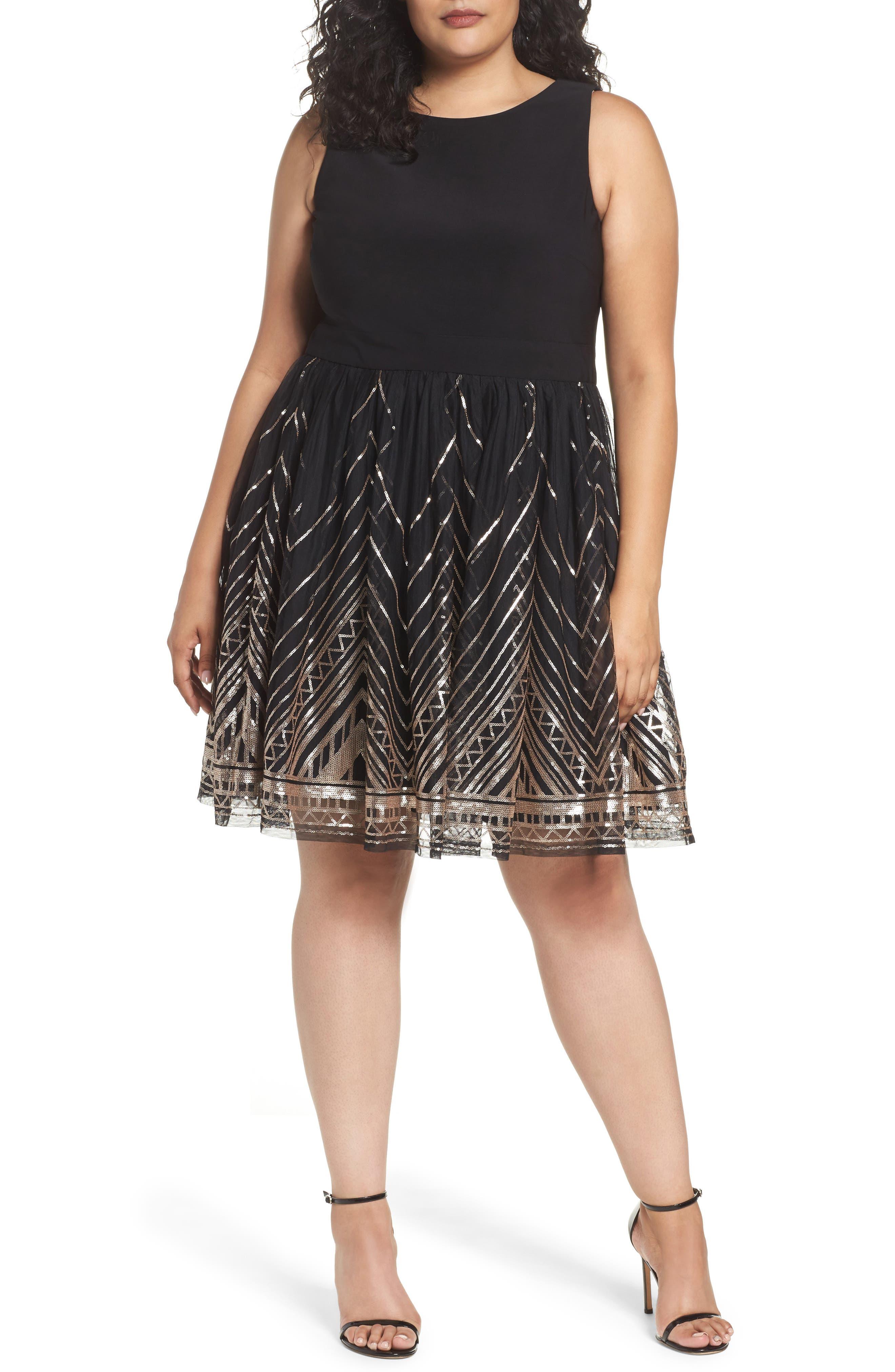 Plus Size Vince Camuto Sequin Fit & Flare Cocktail Dress, Black