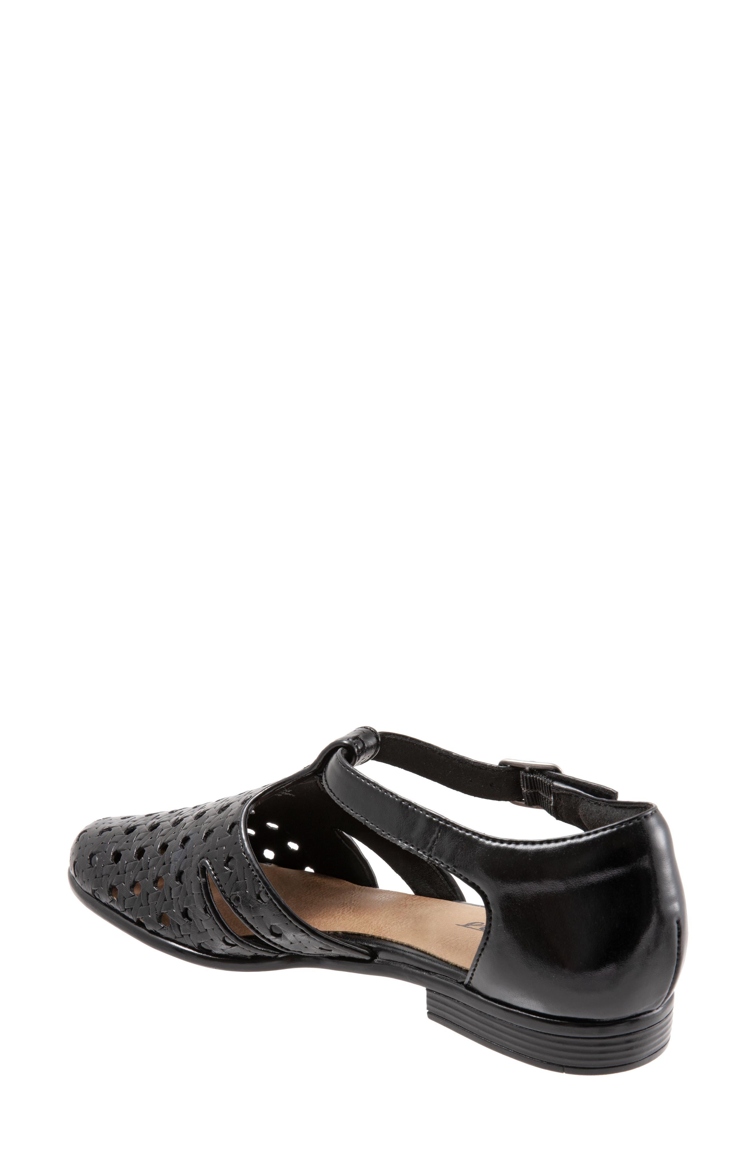 Leatha Open Weave Skimmer Flat,                             Alternate thumbnail 2, color,                             BLACK LEATHER