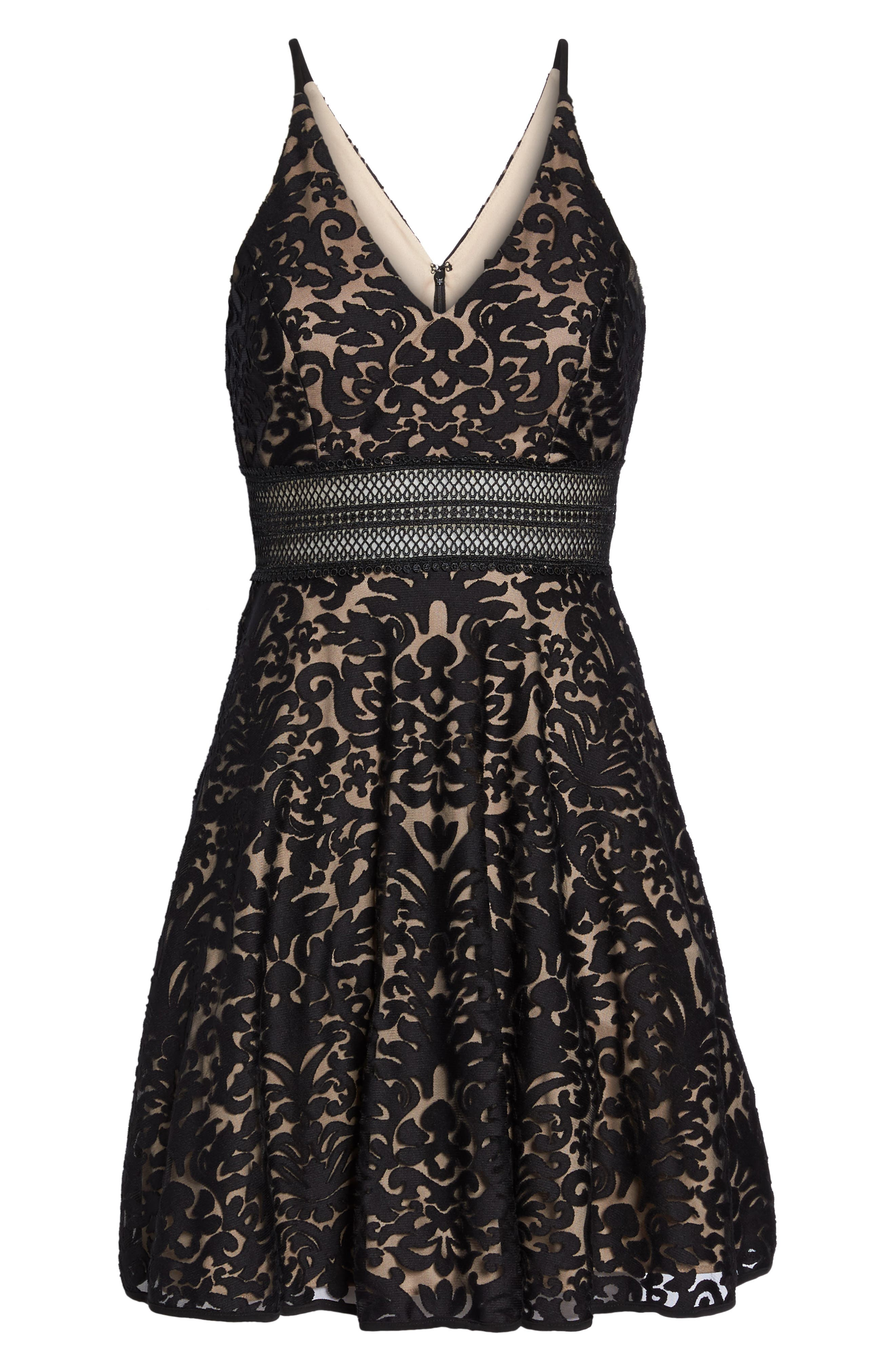 XSCAPE,                             Lace Fit & Flare Dress,                             Alternate thumbnail 6, color,                             002