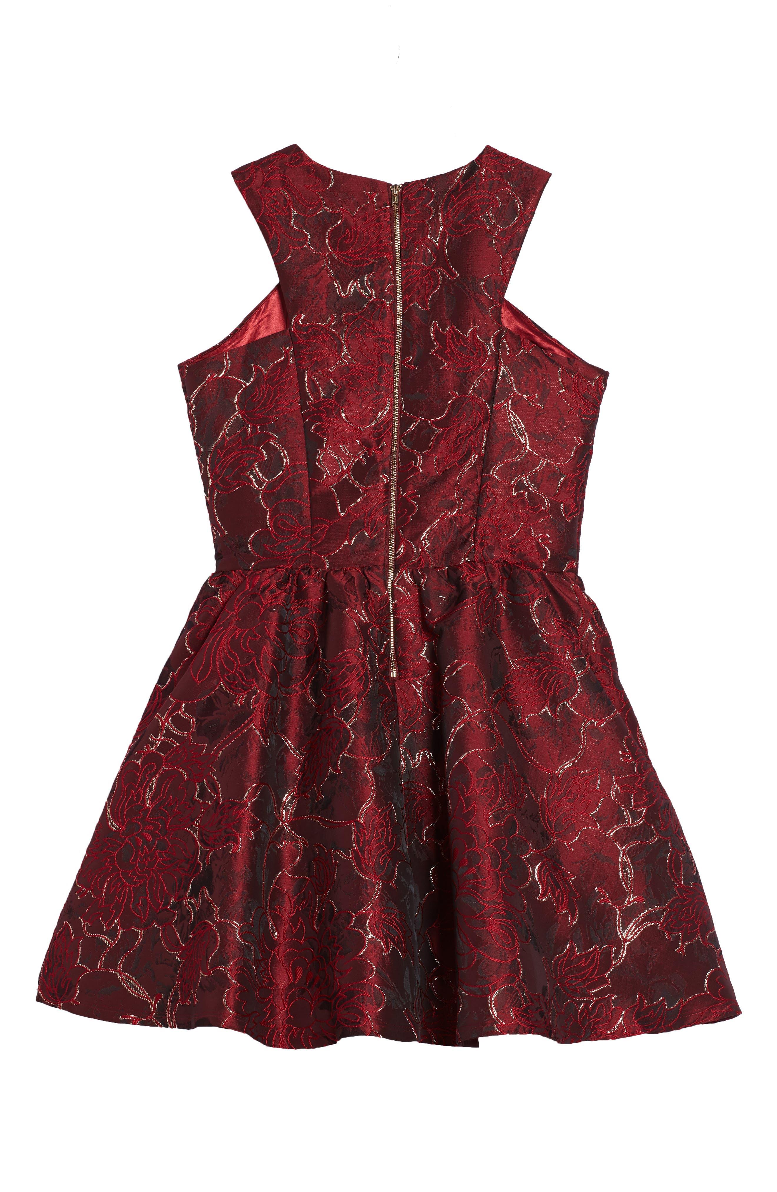 Camilla Fit & Flare Brocade Dress,                             Alternate thumbnail 2, color,                             600