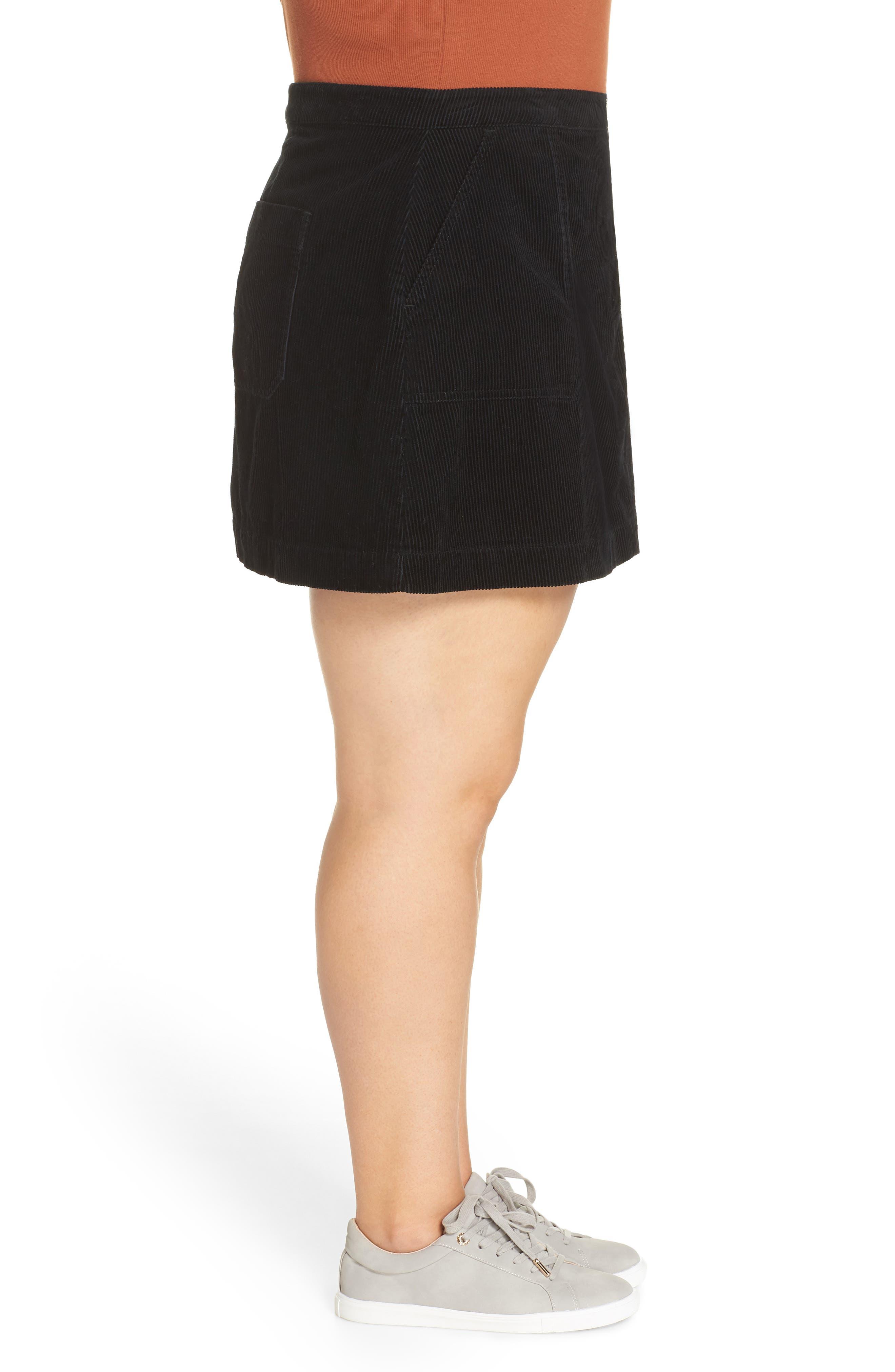 Corduroy Utility Skirt,                             Alternate thumbnail 3, color,                             BLACK