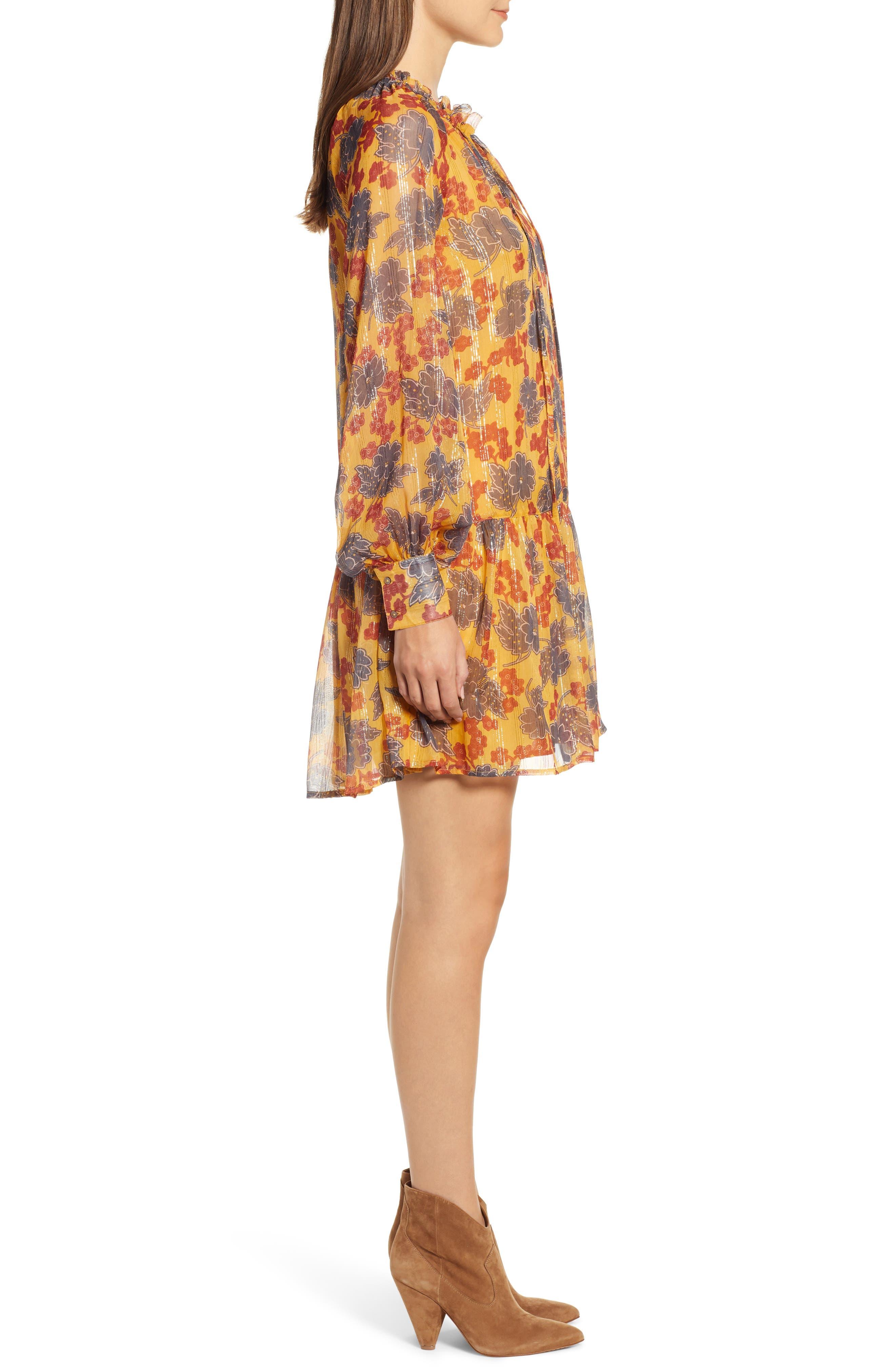 Metallic Stripe Floral Print Dress,                             Alternate thumbnail 3, color,                             YELLOW AND BURGUNDY