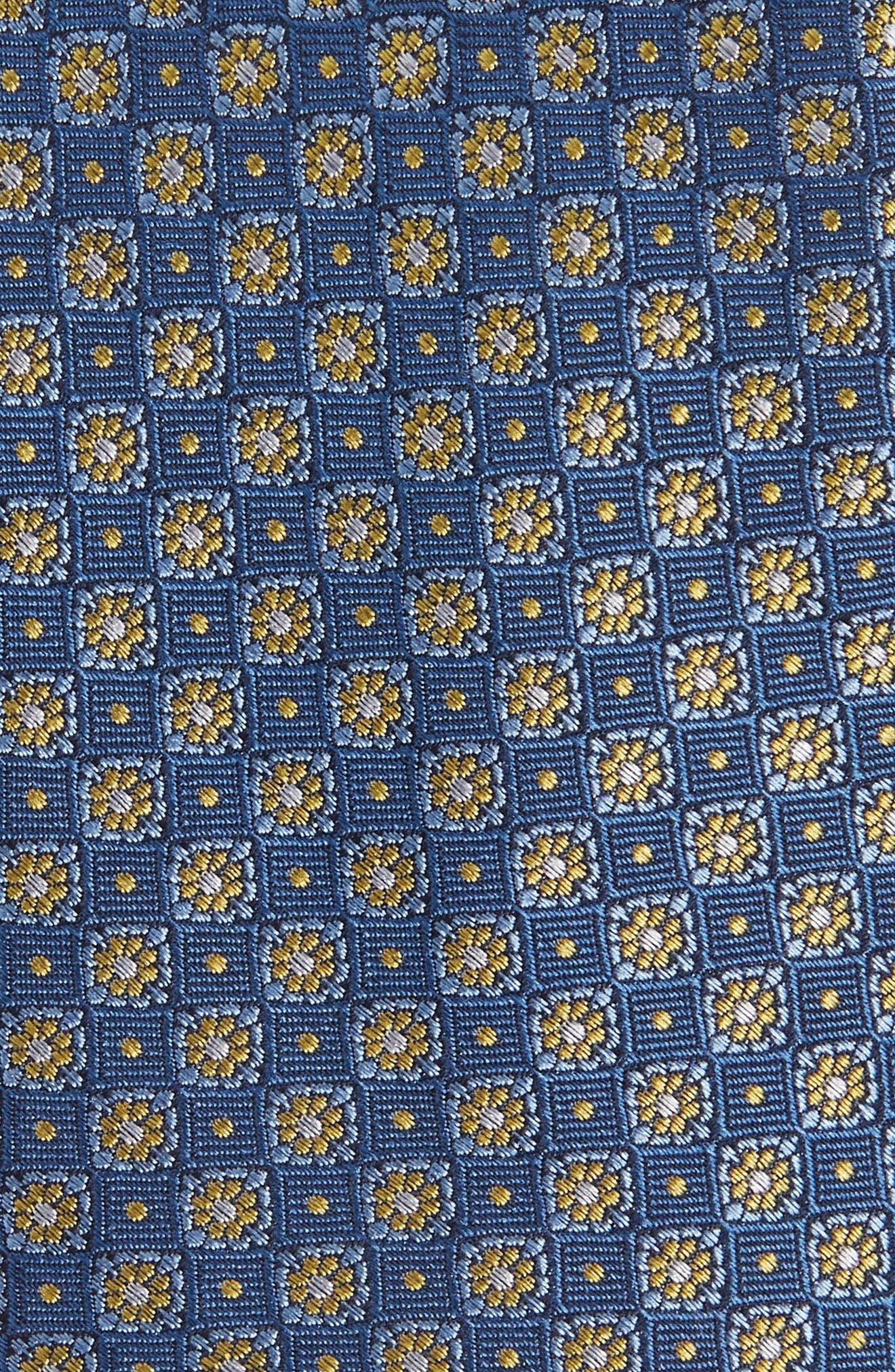 Homme Medallion Silk Tie,                             Alternate thumbnail 2, color,                             BLUE