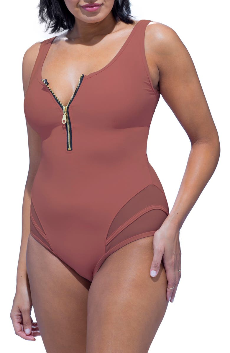 1c31413466189 GabiFresh Front Zip Swimsuit (Plus Size)