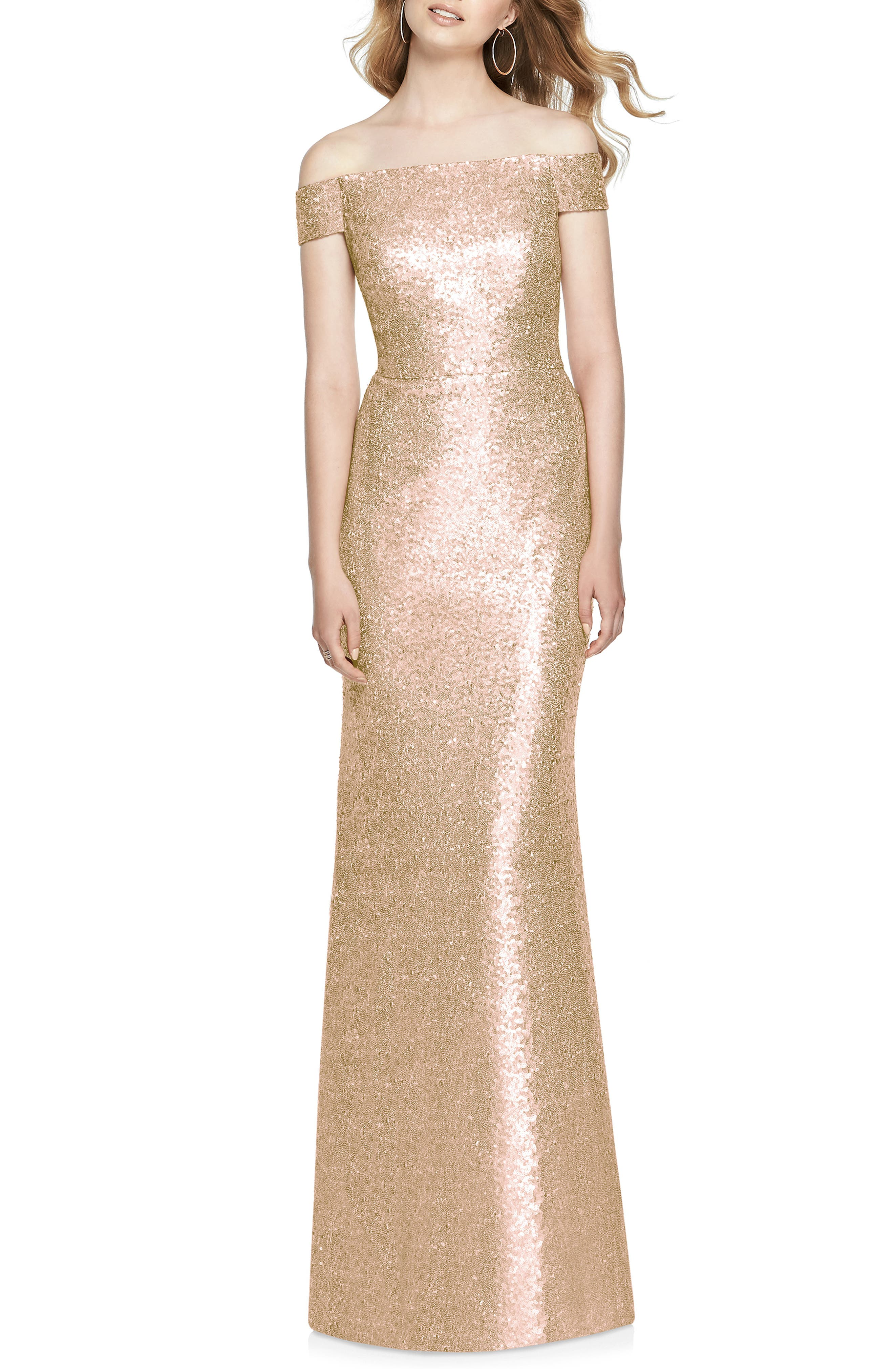 Sequin Off the Shoulder Gown,                             Main thumbnail 1, color,                             ROSE GOLD