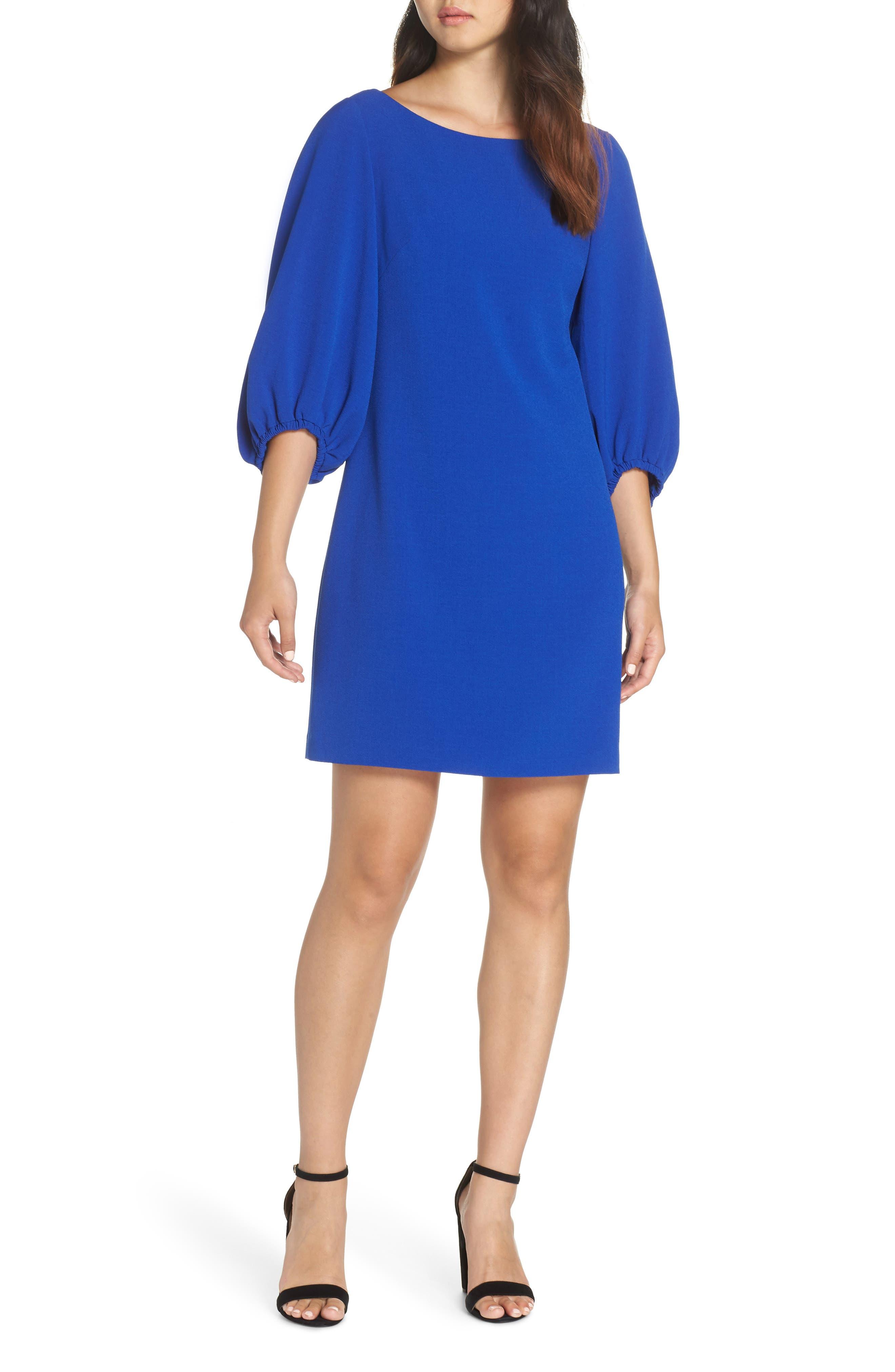 Bloused Sleeve Shift Dress,                         Main,                         color, COBALT
