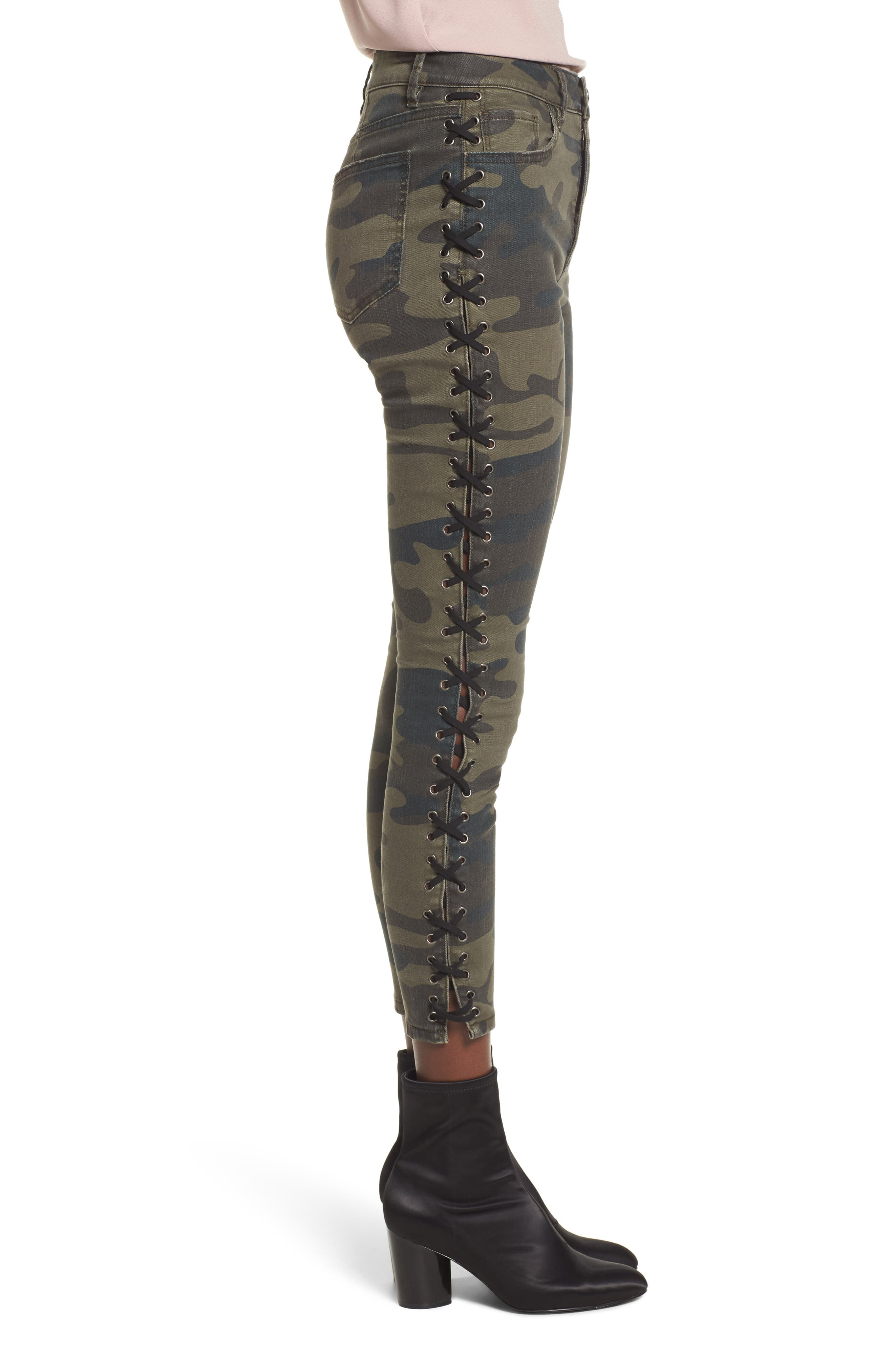 Lace Up Camo Crop Skinny Jeans,                             Alternate thumbnail 3, color,                             300