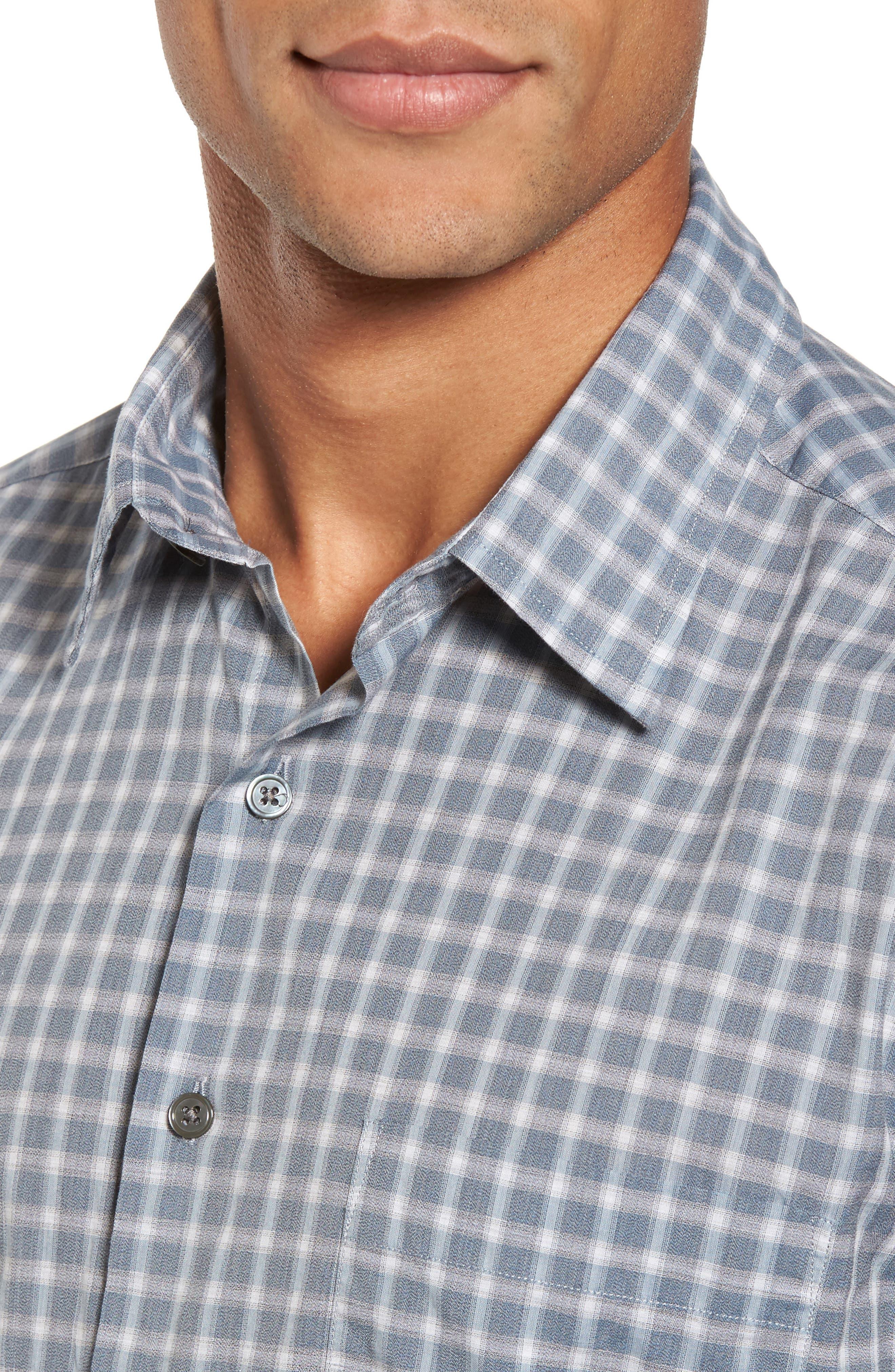 Larkins Way Regular Fit Check Sport Shirt,                             Alternate thumbnail 4, color,