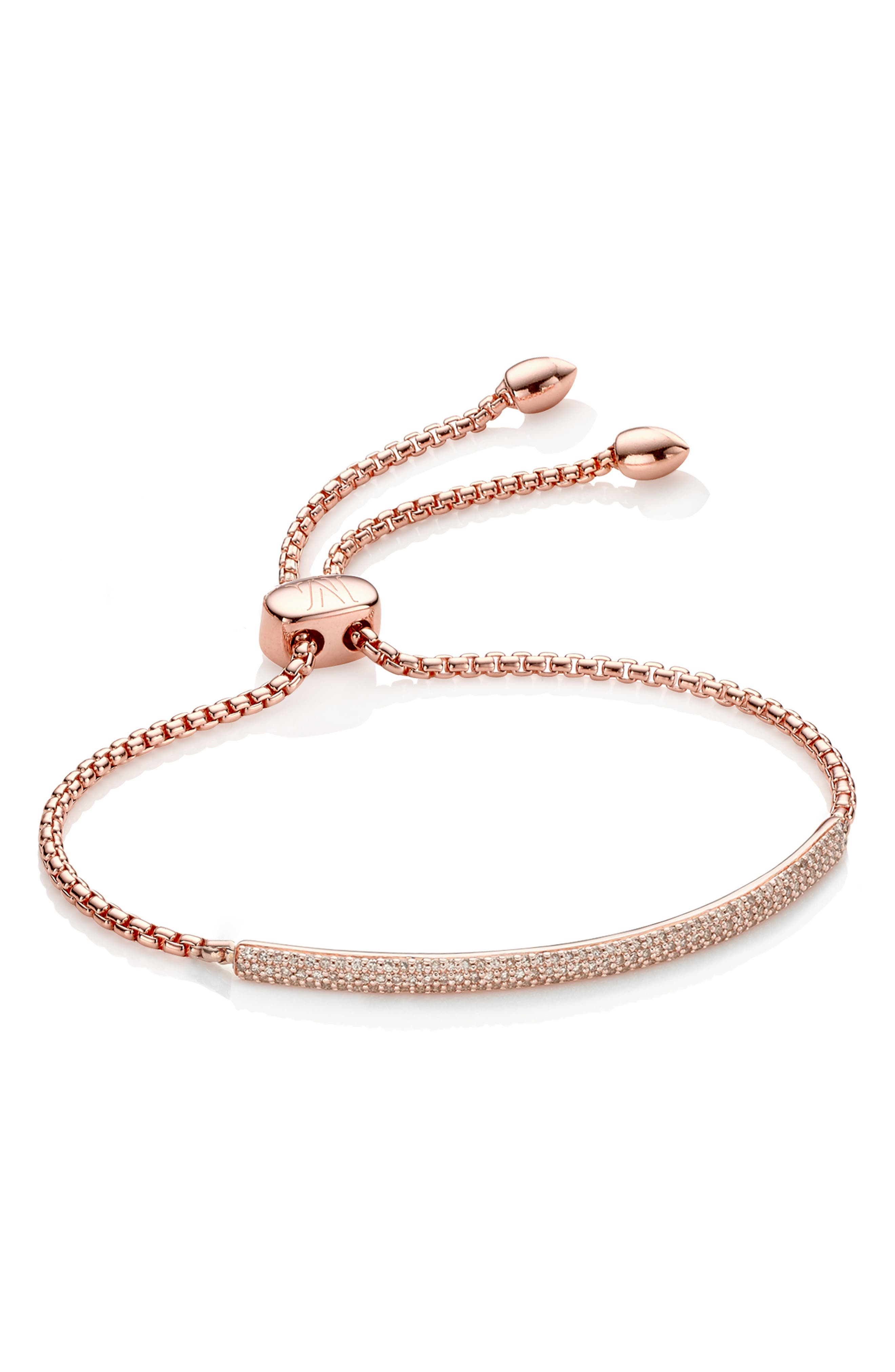Stellar Pavé Diamond Mini Bar Bracelet,                             Alternate thumbnail 2, color,                             ROSE GOLD