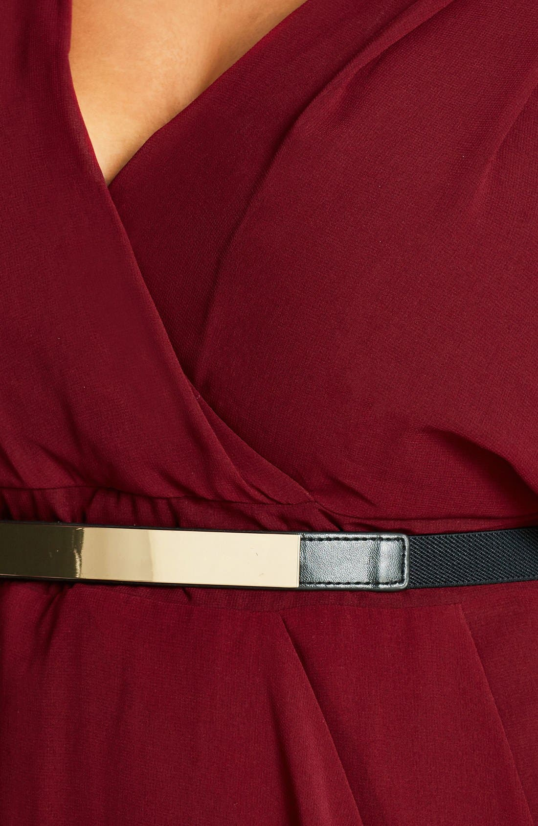 Belted Chiffon Faux Wrap Dress,                             Alternate thumbnail 3, color,                             RUBY