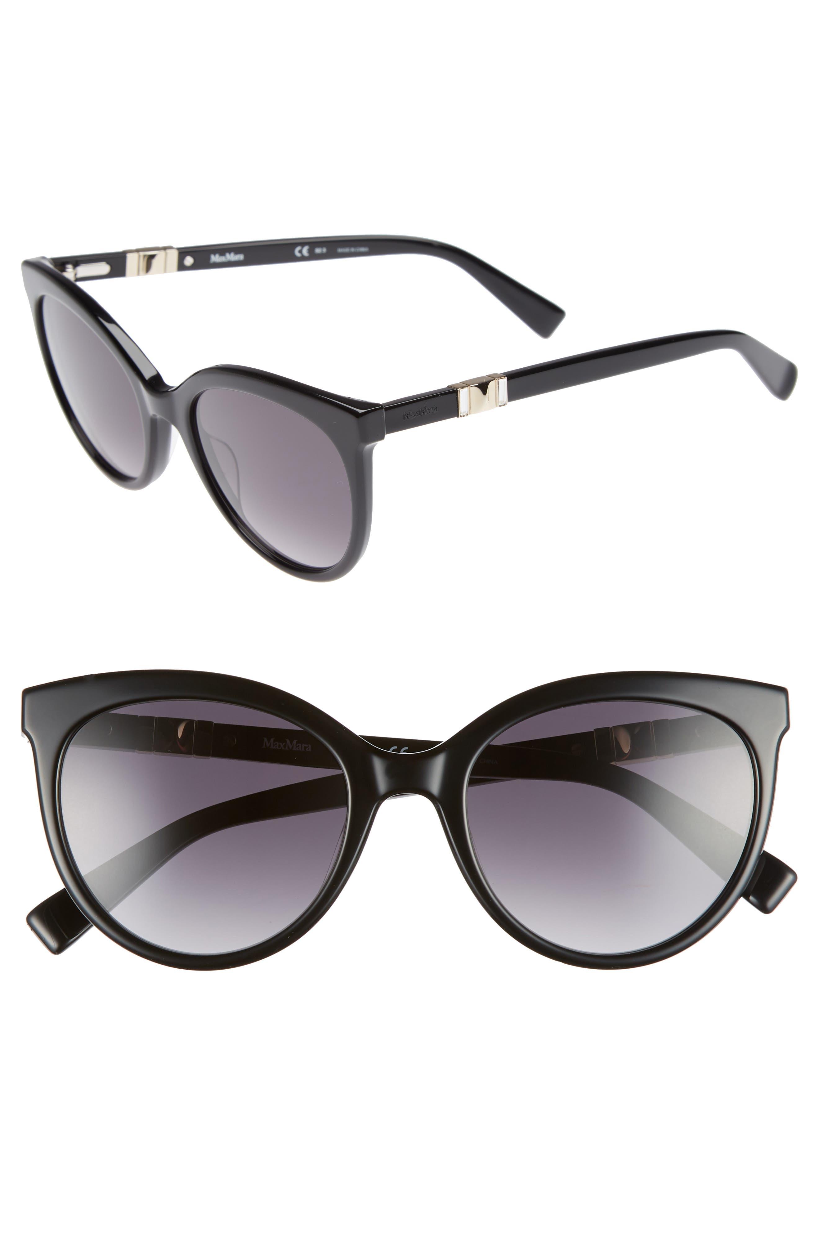 Jeweliis 54mm Gradient Cat Eye Sunglasses,                         Main,                         color, BLACK