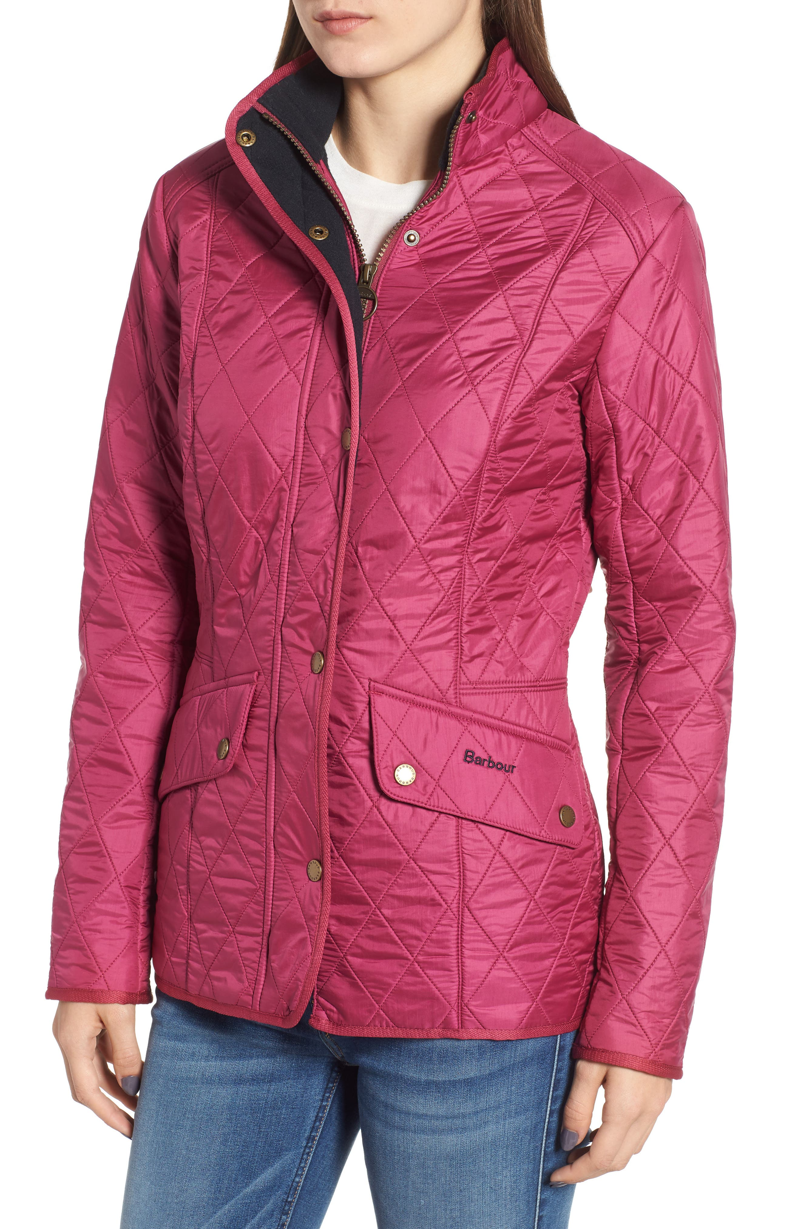 'Cavalry' Quilted Jacket,                             Alternate thumbnail 4, color,                             BERRY PINK / NAVY