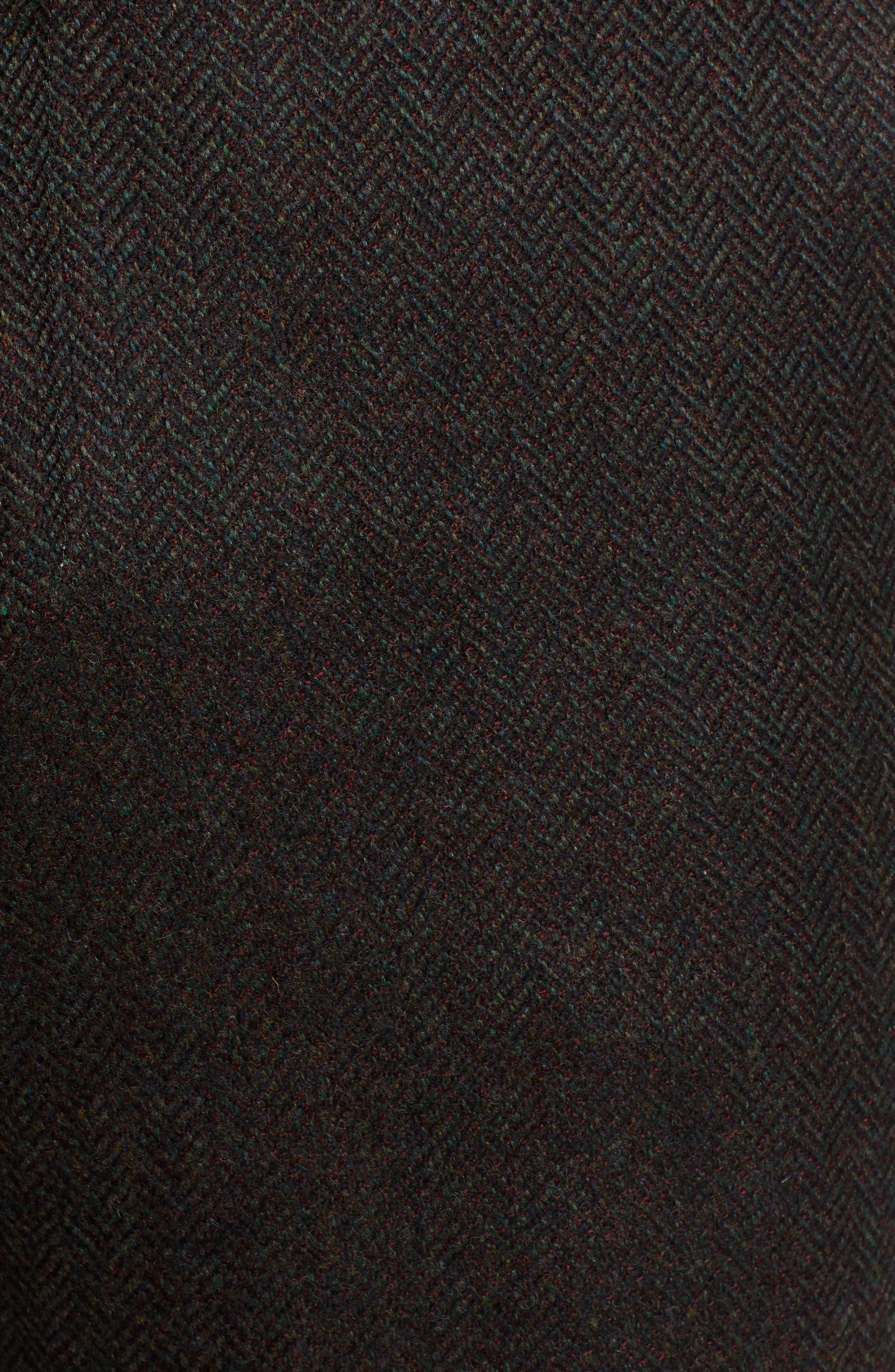 Flat Front Herringbone Wool & Cashmere Trousers,                             Alternate thumbnail 5, color,                             DARK OLIVE