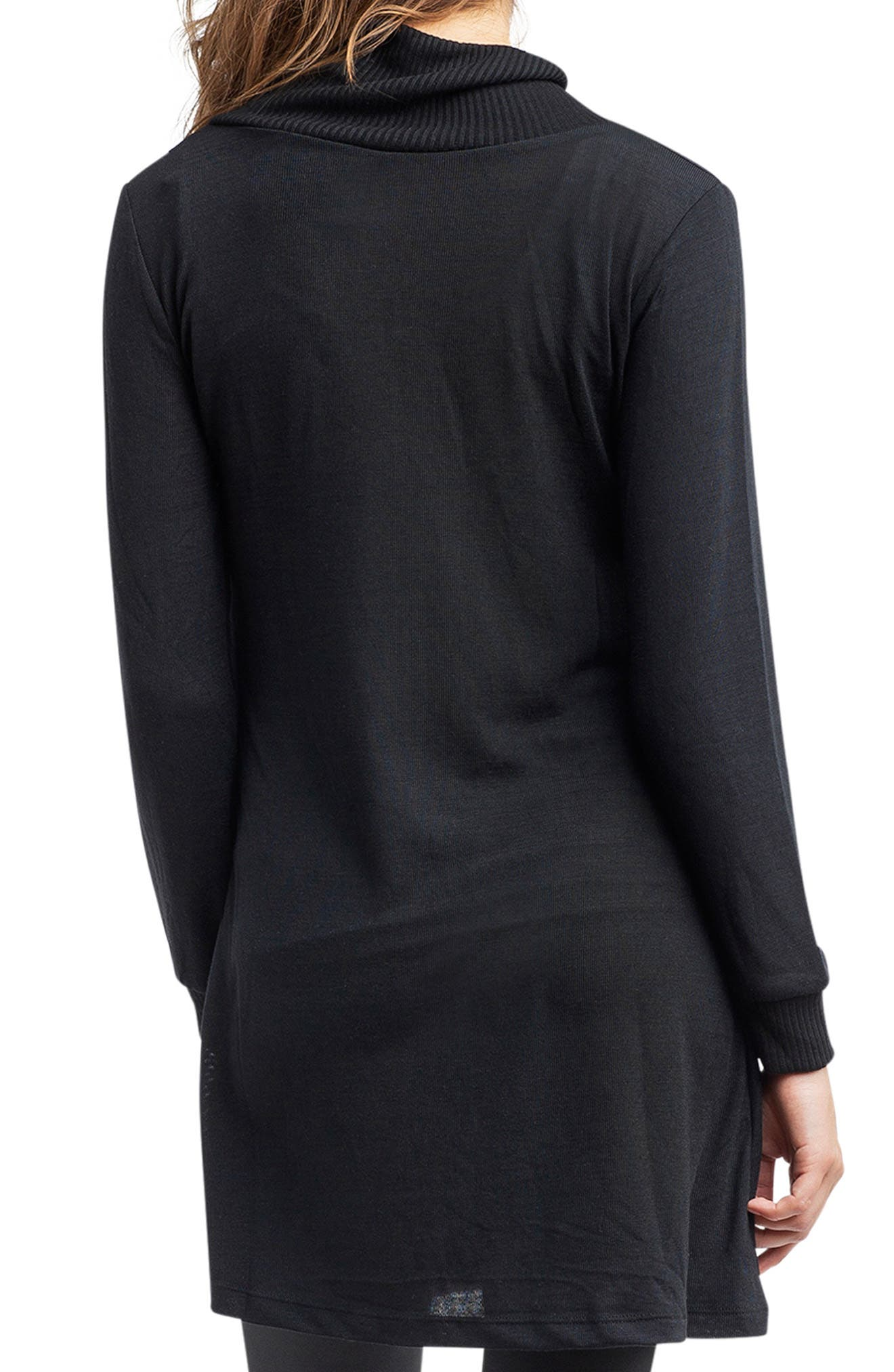 'Tanya' Jersey Maternity Tunic,                             Alternate thumbnail 3, color,                             BLACK