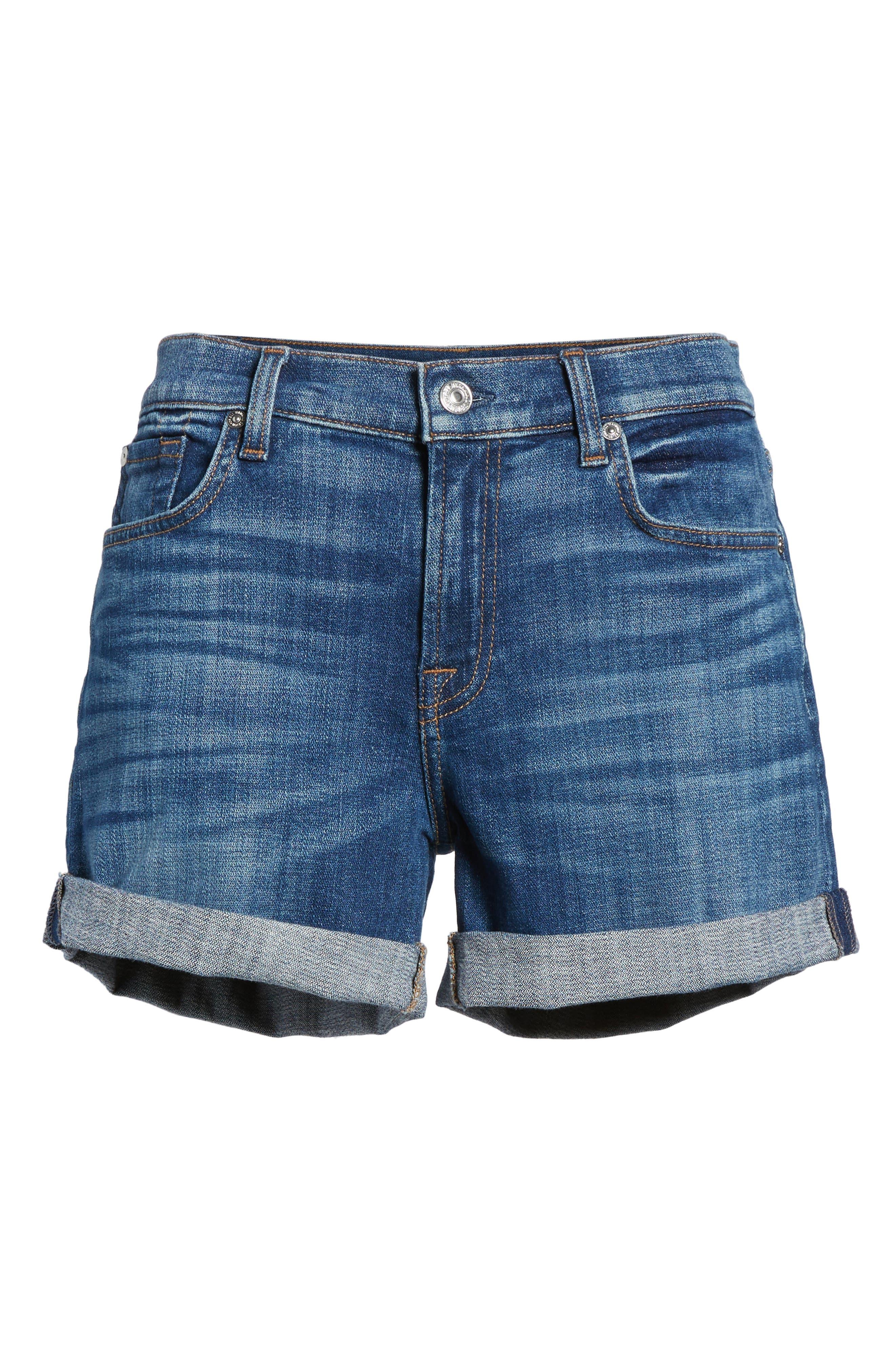Roll Cuff Denim Shorts,                             Alternate thumbnail 7, color,                             400