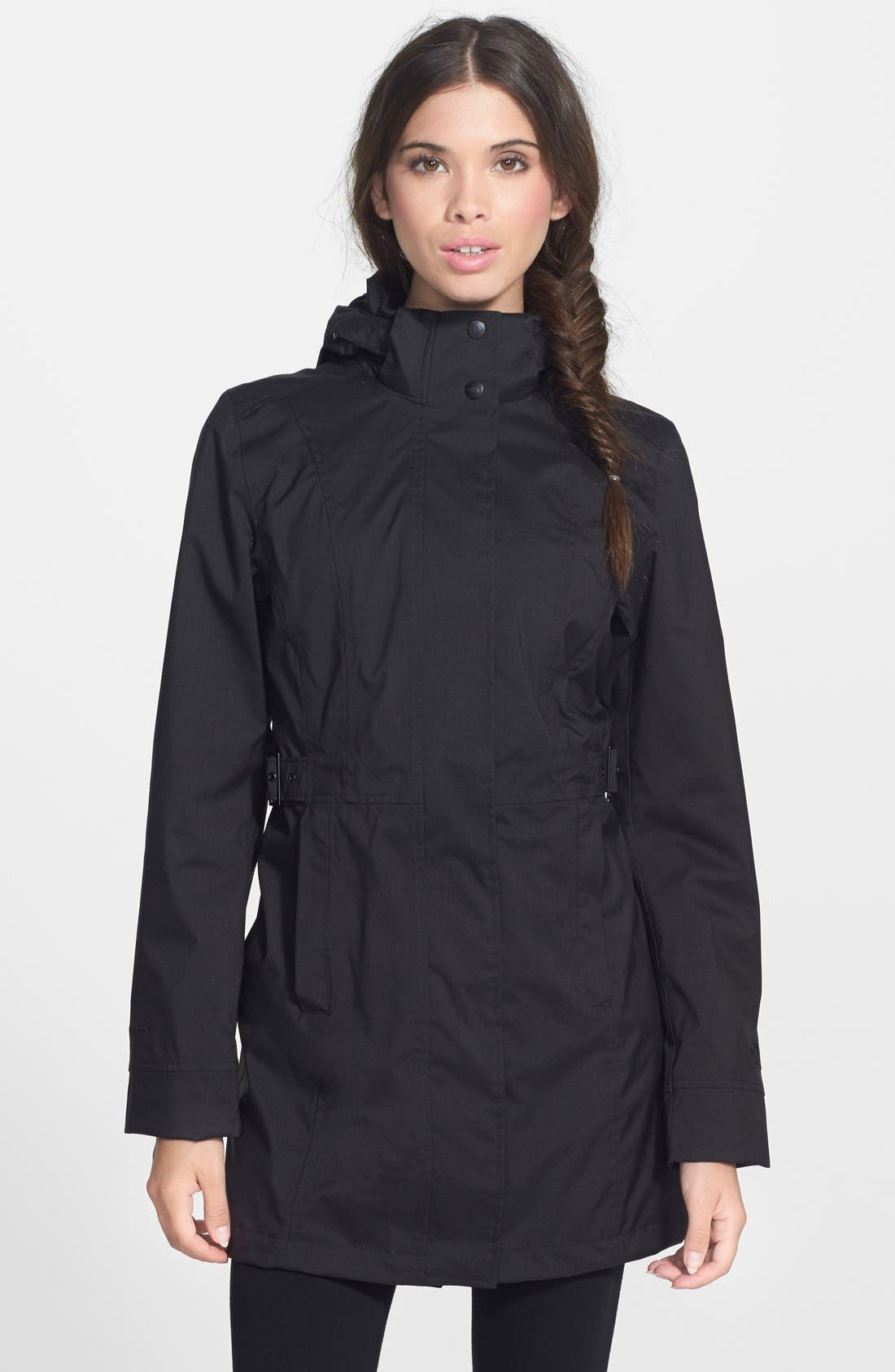 Laney II Trench Raincoat,                             Main thumbnail 1, color,                             TNF BLACK