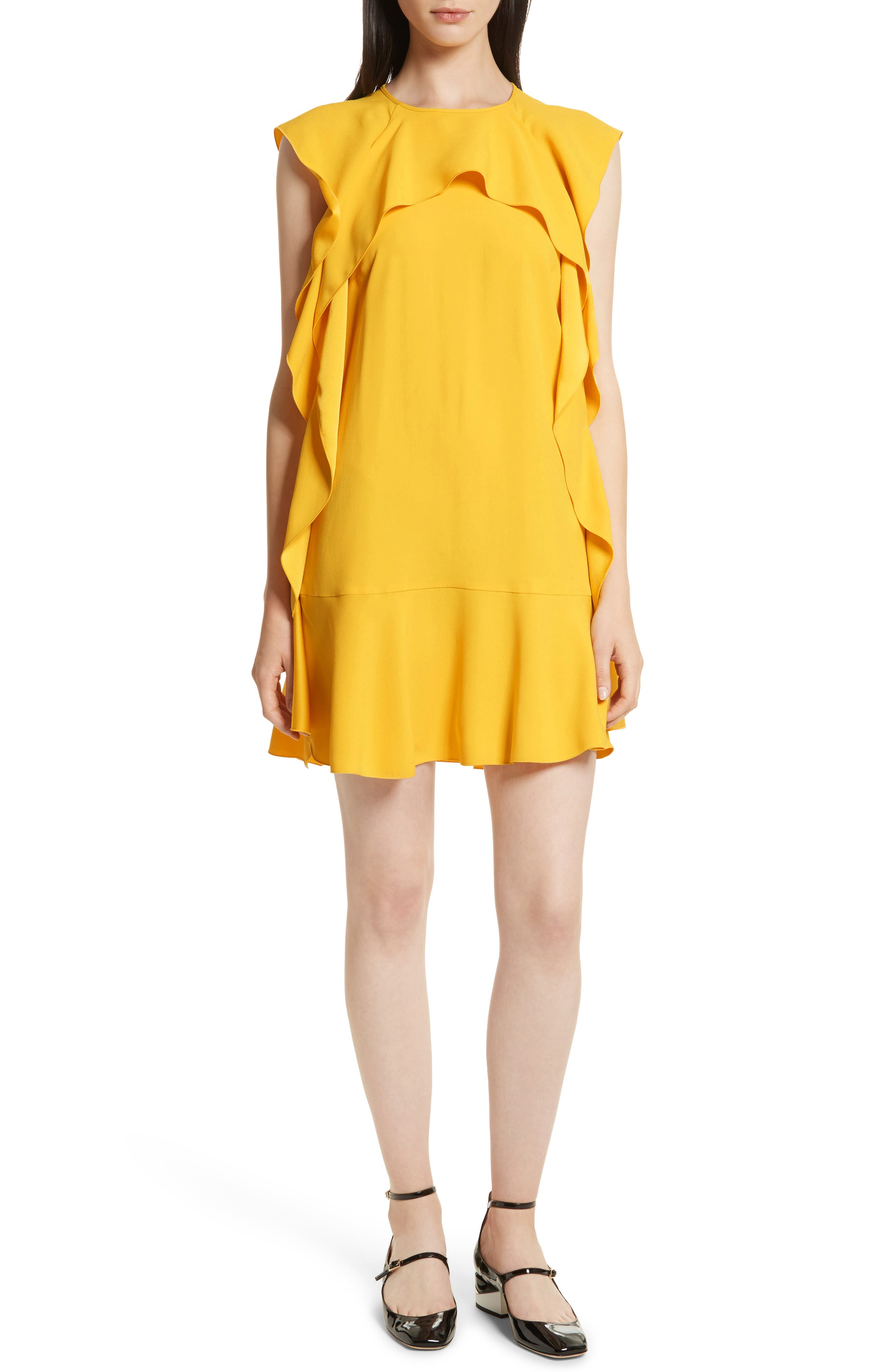 Ruffle Satin Back Crepe Dress,                             Main thumbnail 1, color,                             700