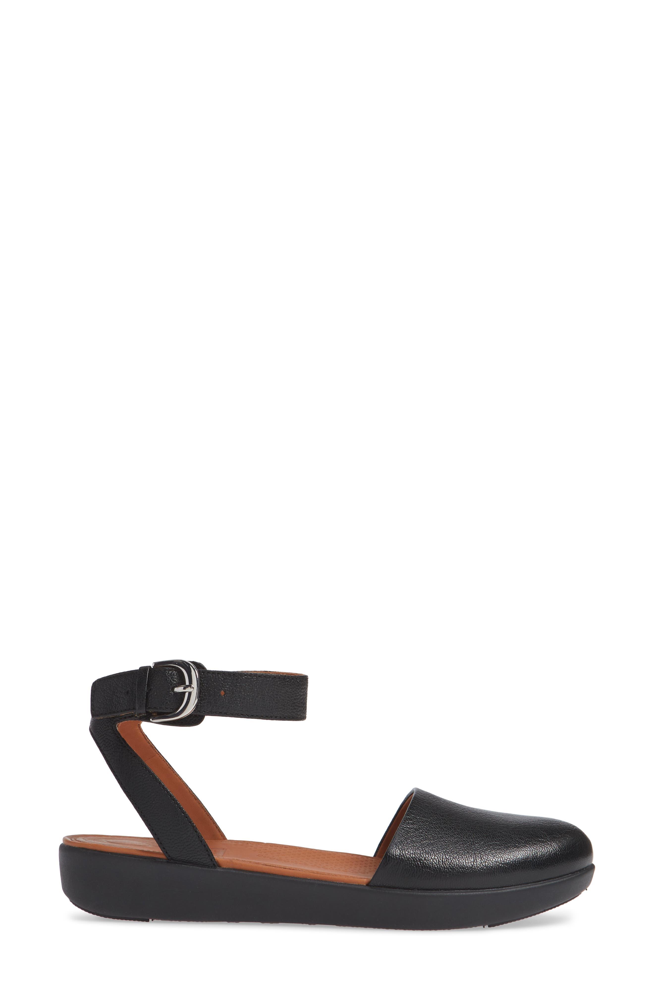 Cova Ankle Strap Sandal,                             Alternate thumbnail 3, color,                             BLACK LEATHER