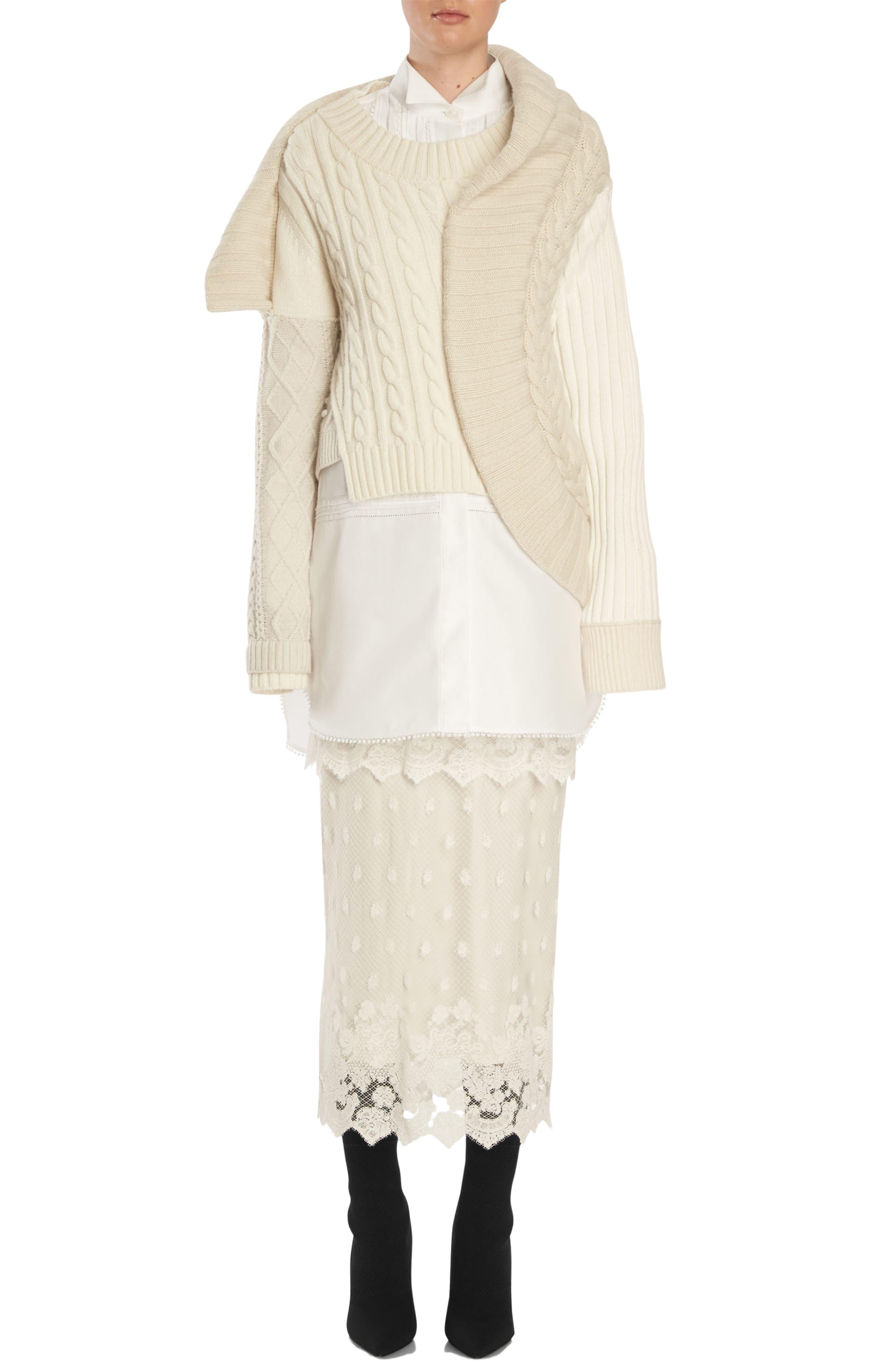 Pintuck Cotton Shirtdress,                             Alternate thumbnail 4, color,                             100