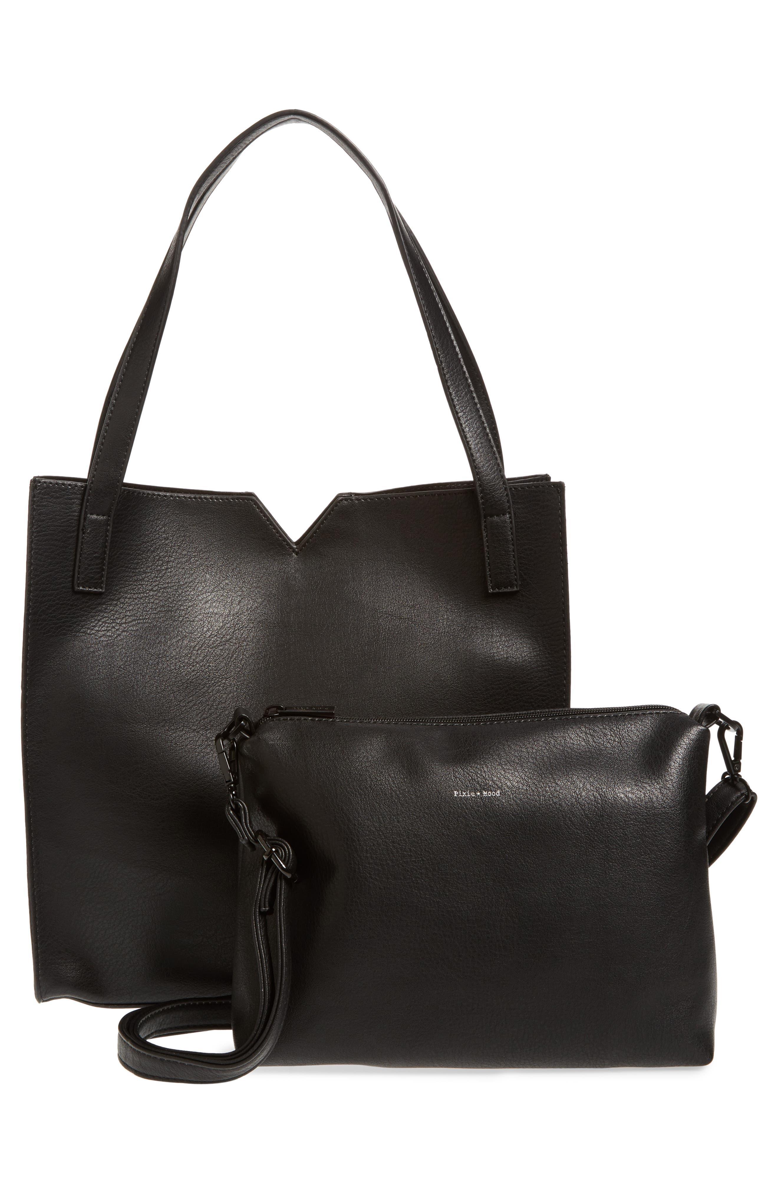 Alicia Faux Leather Tote Bag & Pouch Set,                             Alternate thumbnail 3, color,                             001
