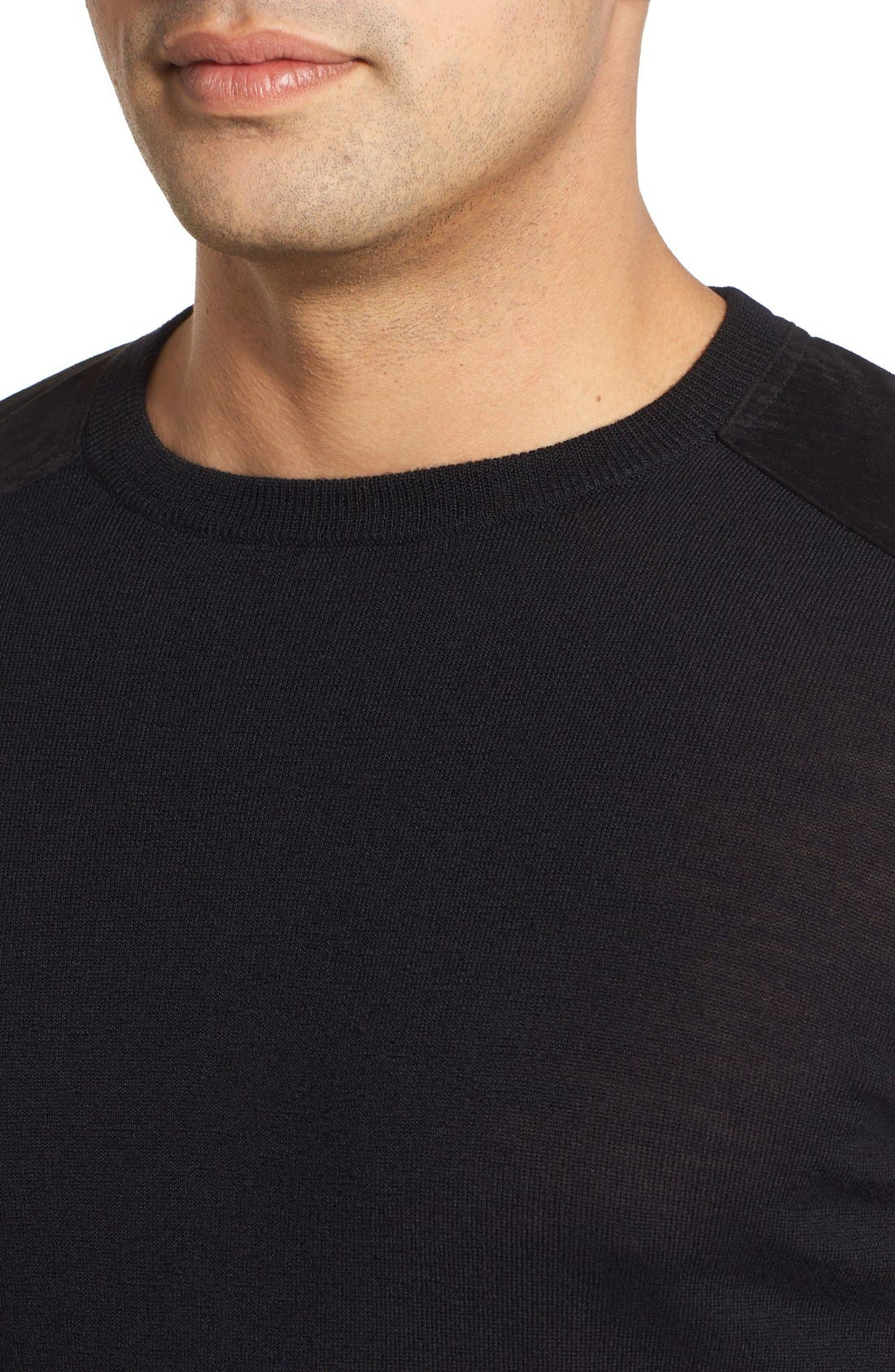 Regular Fit Crewneck Sweater,                             Alternate thumbnail 3, color,                             001