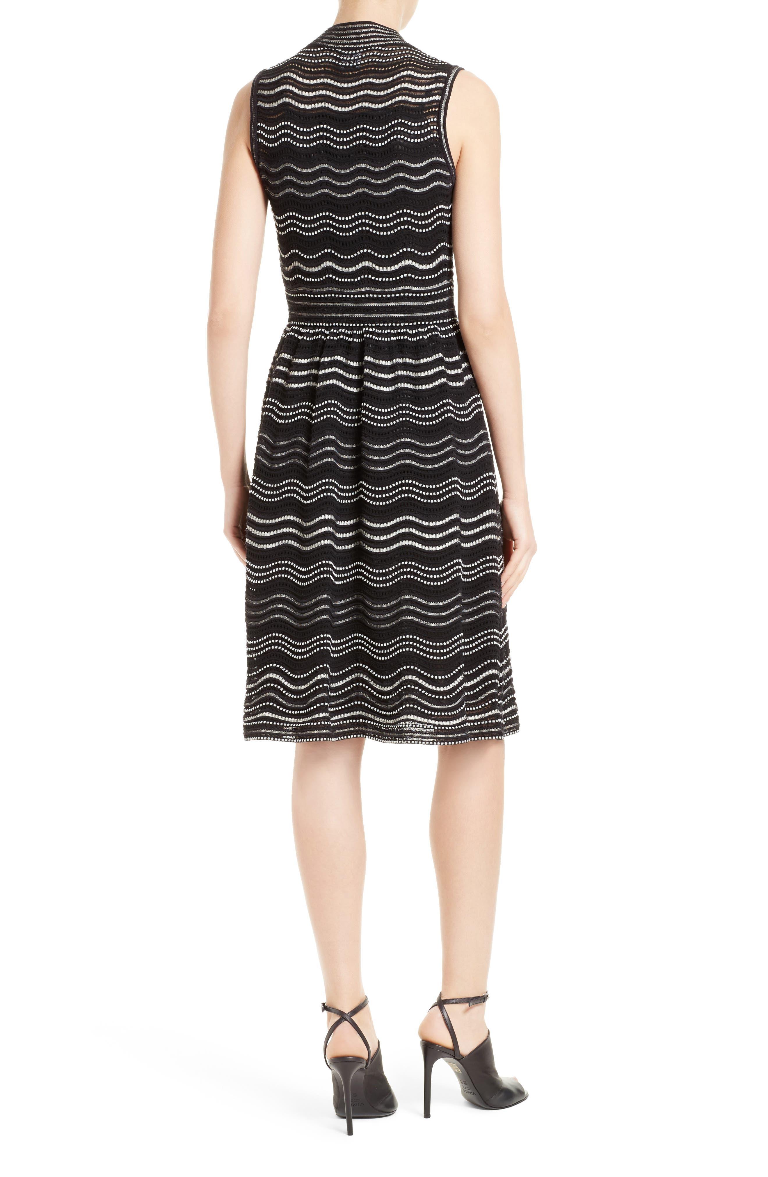 Ripple Dot Fit & Flare Dress,                             Alternate thumbnail 2, color,                             001