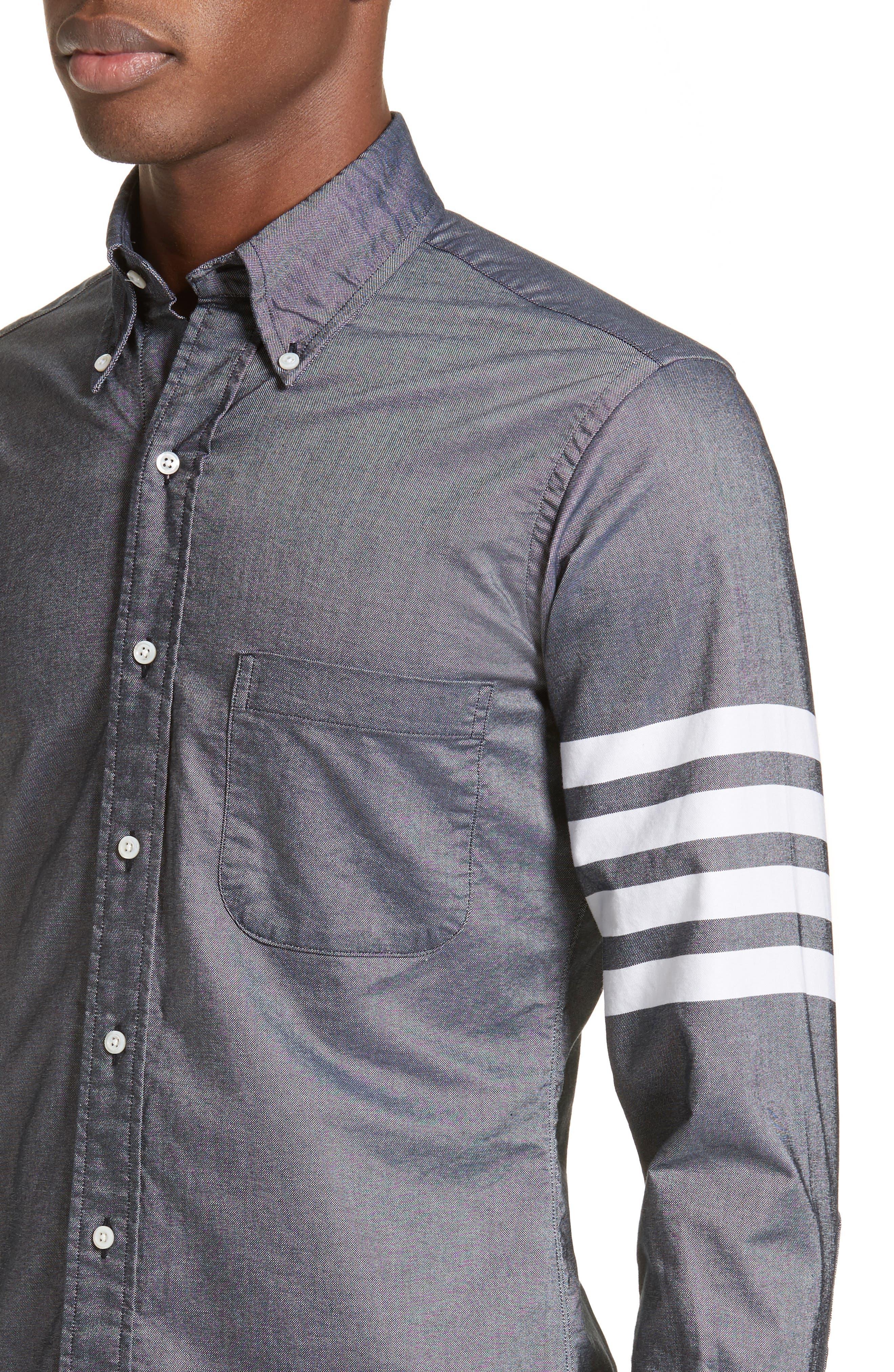 Trim Fit Classic 4-Bar Oxford Shirt,                             Alternate thumbnail 5, color,                             420
