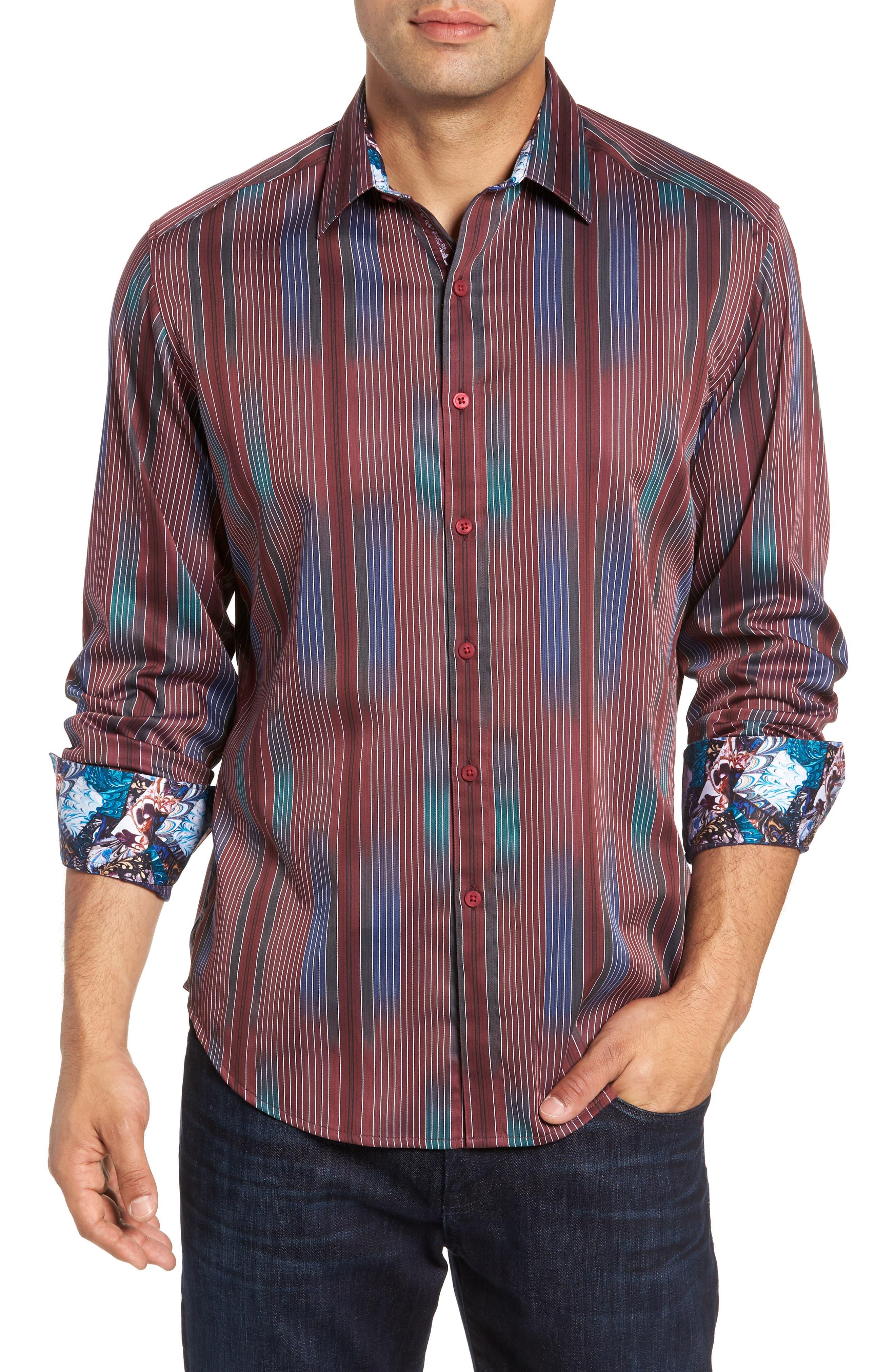 Rahman Classic Fit Sport Shirt,                             Main thumbnail 1, color,                             BURGUNDY
