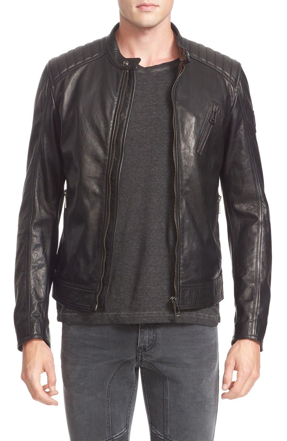 V Racer Leather Jacket,                             Main thumbnail 1, color,                             BLACK