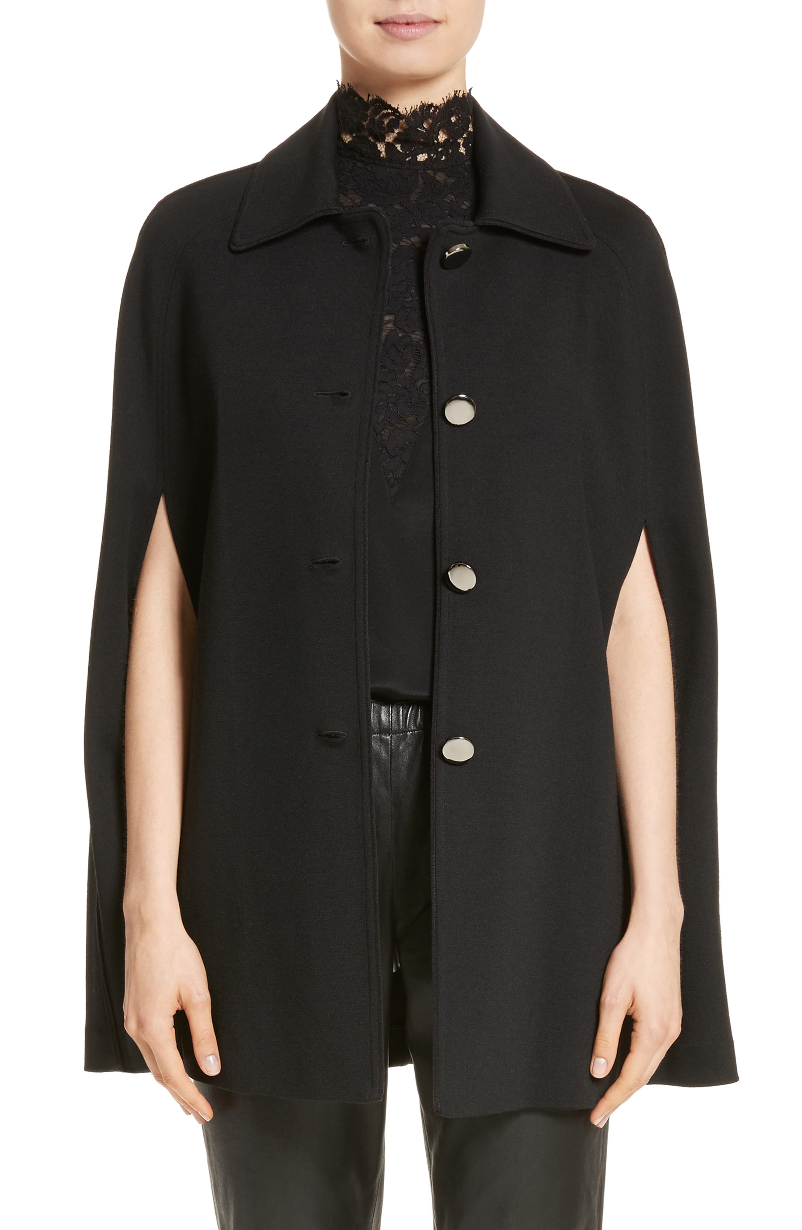 ST. JOHN COLLECTION Milano Knit Collared Cape, Main, color, 001