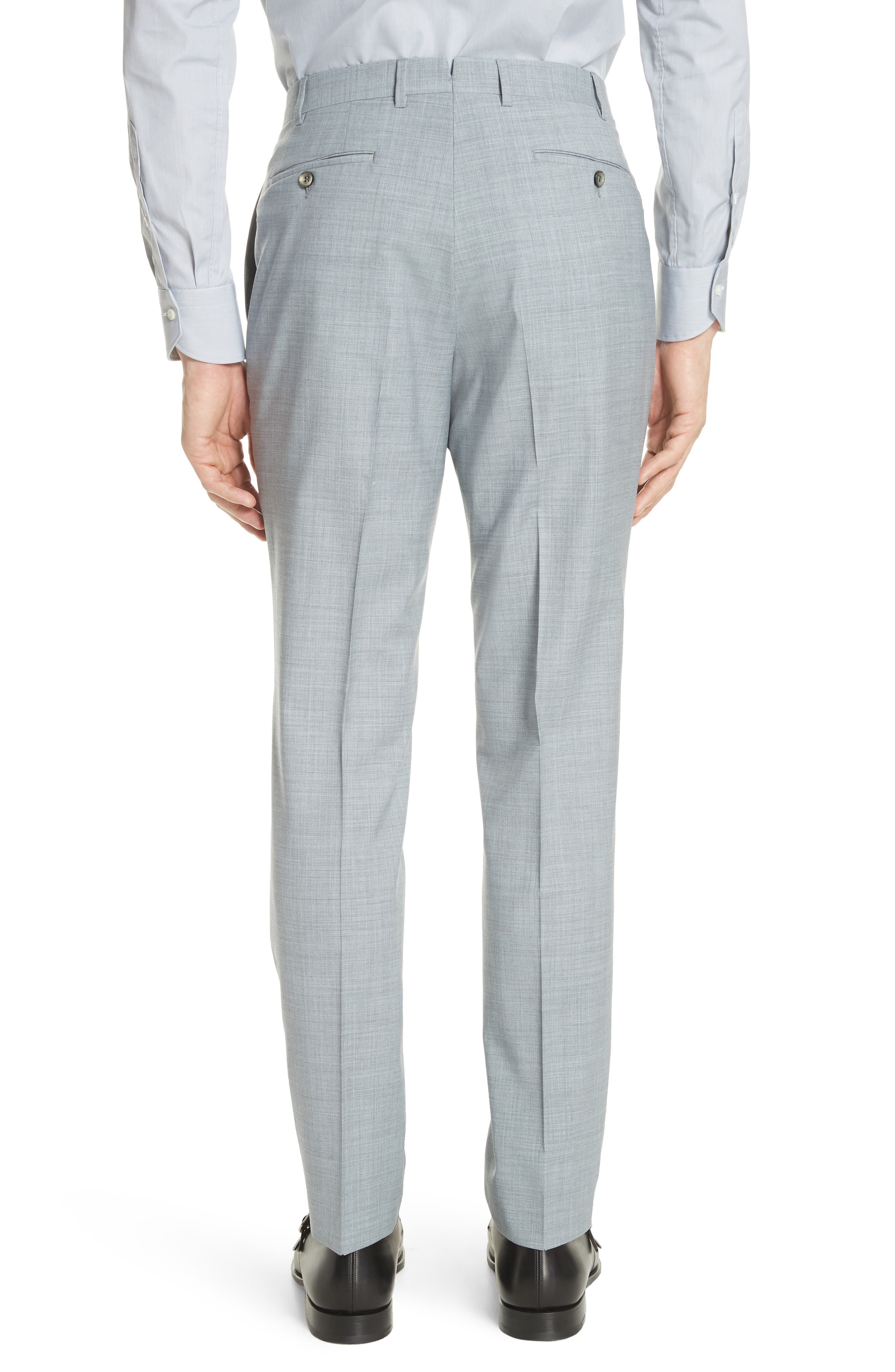 Kei Flat Front Solid Wool Trousers,                             Alternate thumbnail 4, color,