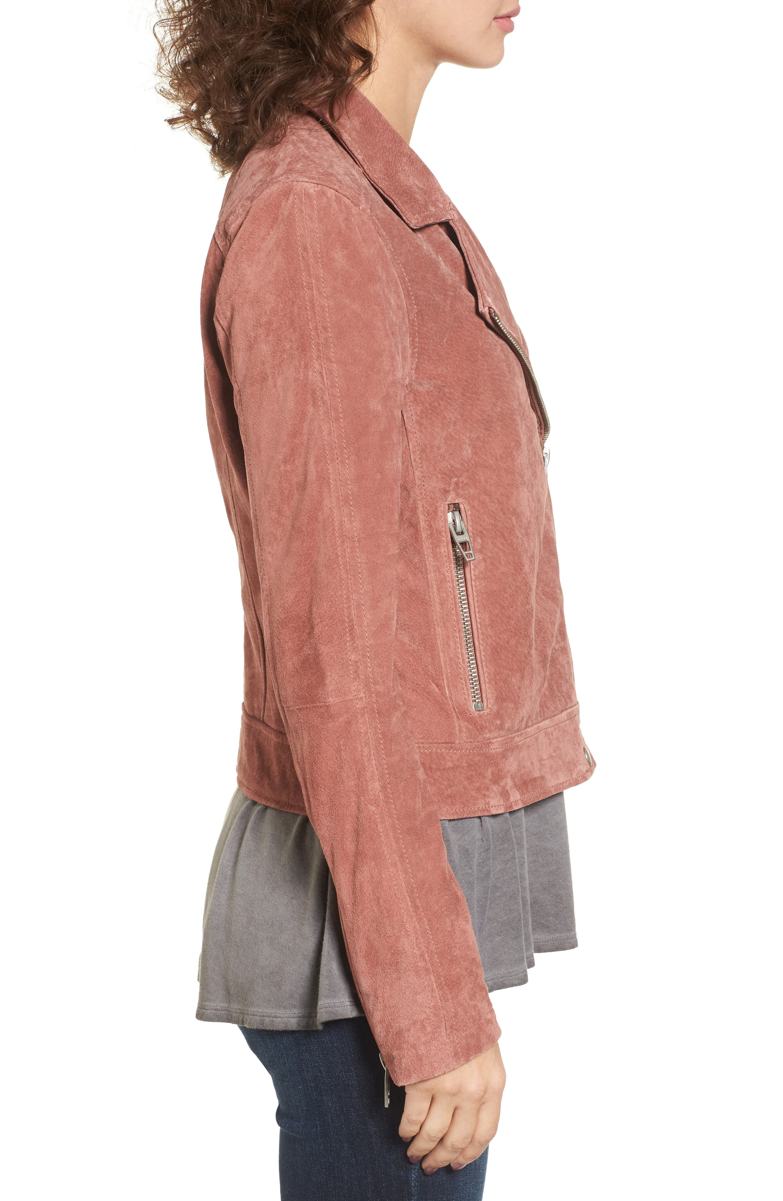 Suede Moto Jacket,                             Alternate thumbnail 3, color,                             201
