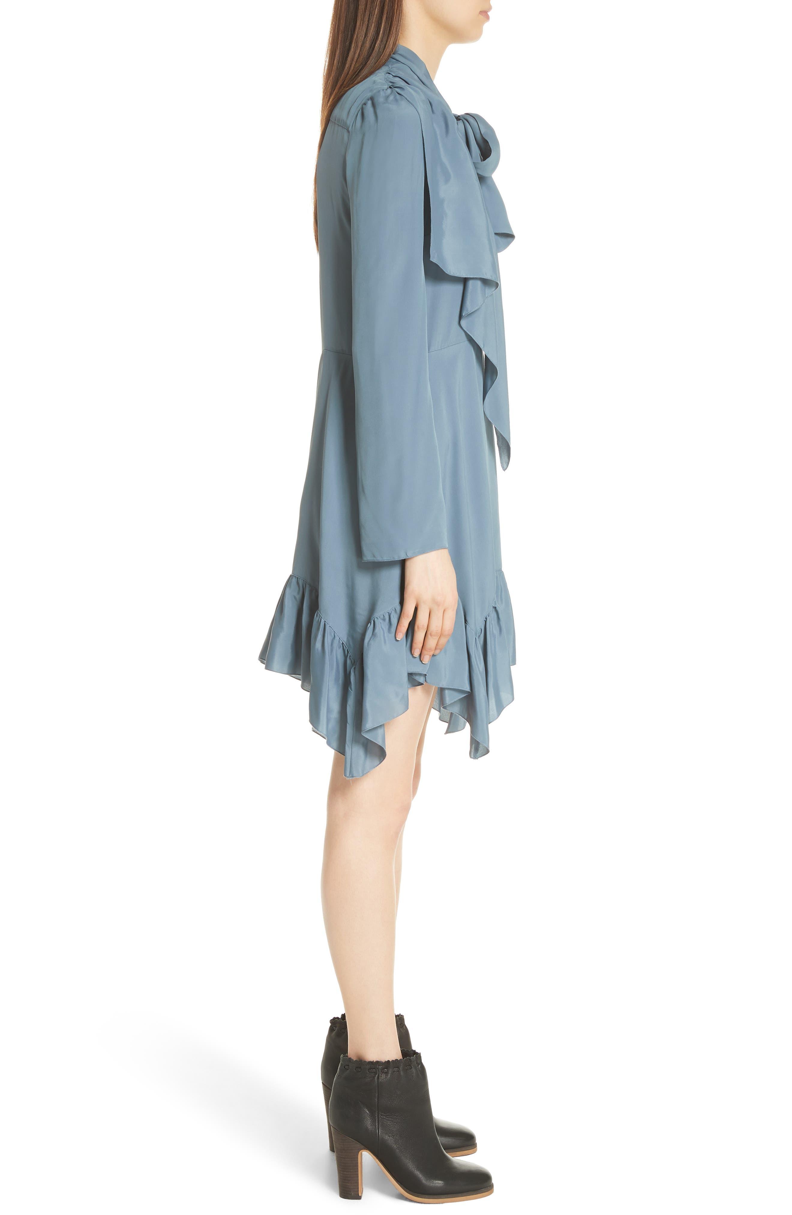 Tie Neck Ruffle Hem Dress,                             Alternate thumbnail 3, color,                             MIRAGE BLUE