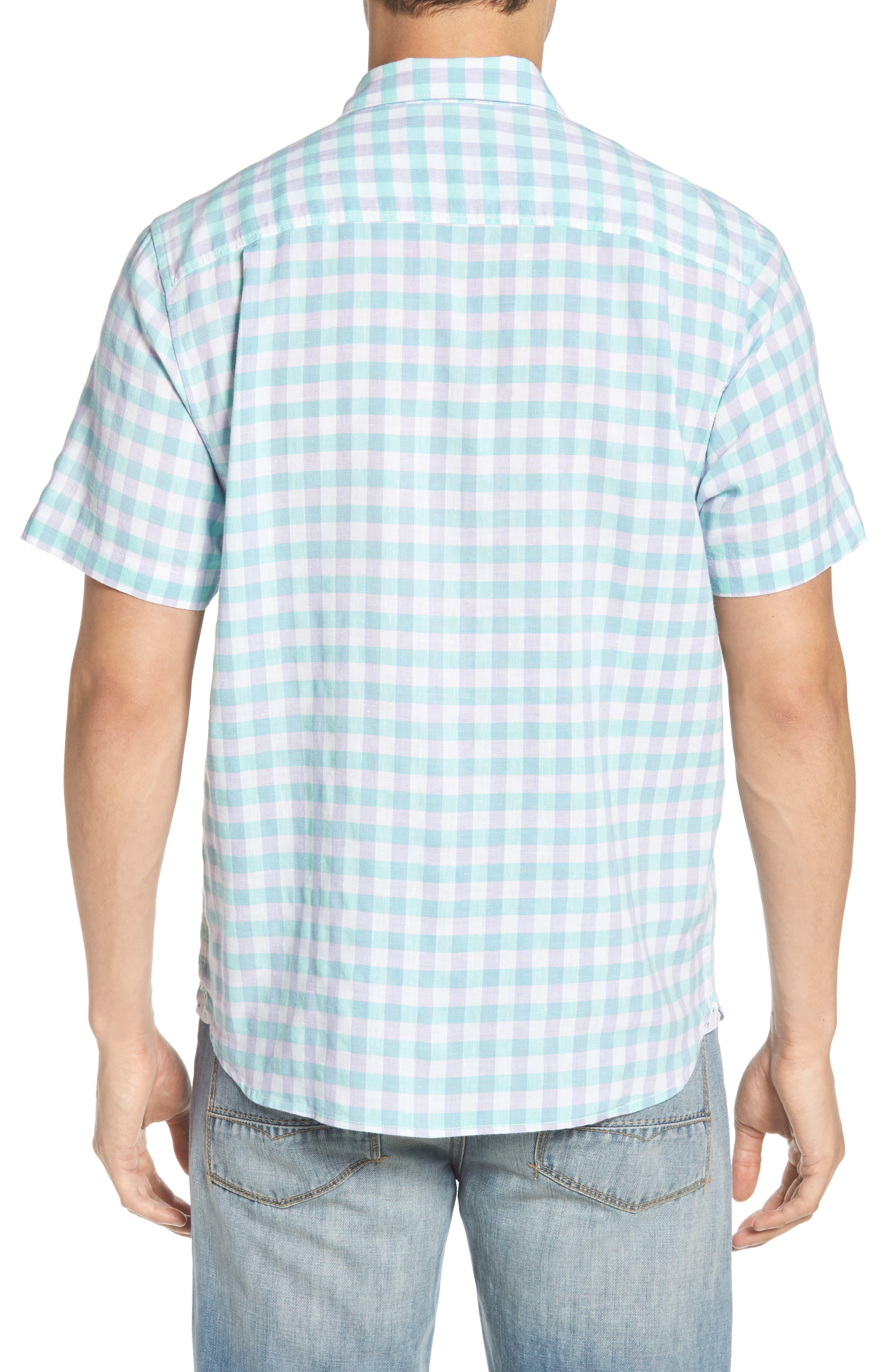 Gingham Del Toro Linen Blend Sport Shirt,                             Alternate thumbnail 4, color,