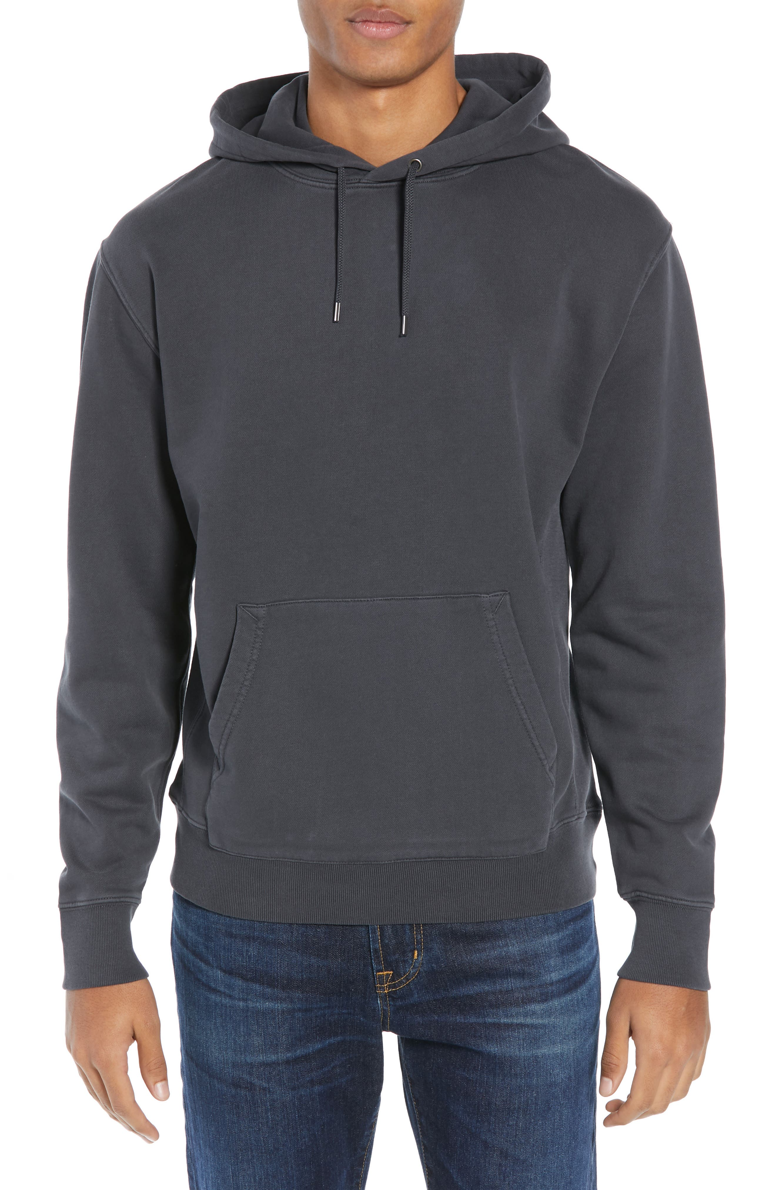 Garment Dyed French Terry Hoodie,                         Main,                         color, WASHED OUT BLACK