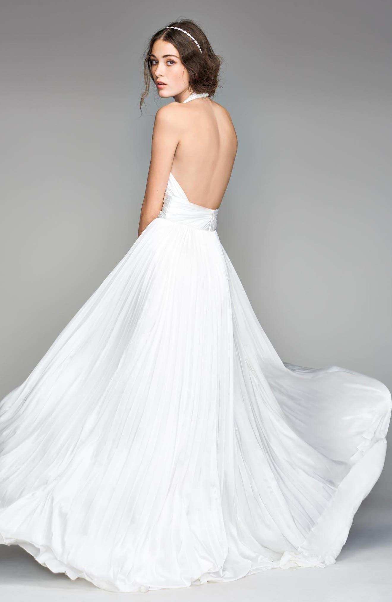 Badri Charmeuse Pleated Halter Gown,                             Alternate thumbnail 2, color,                             DIAMOND WHITE