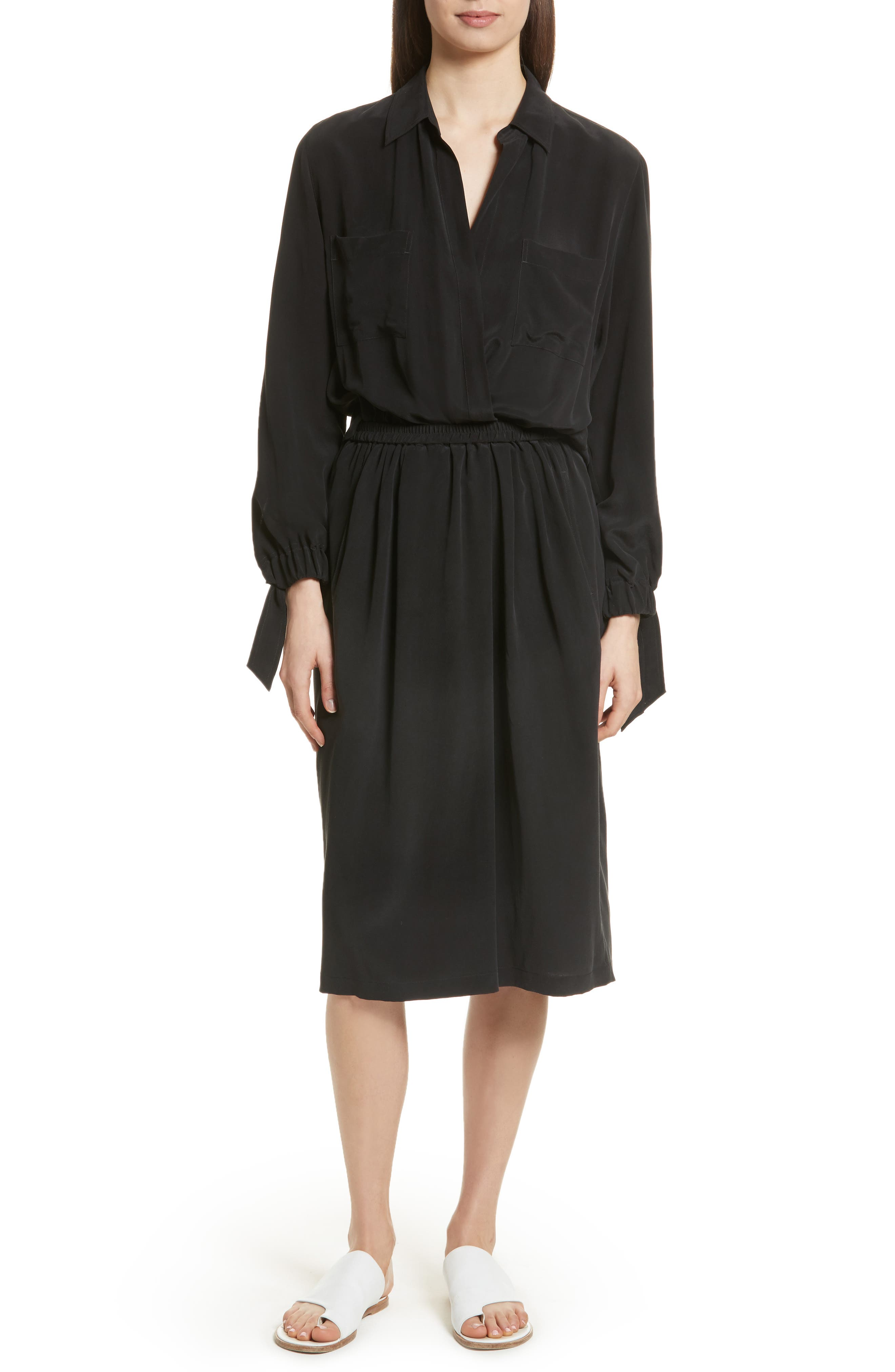 Silk Slit Back Shirtdress,                         Main,                         color, 001