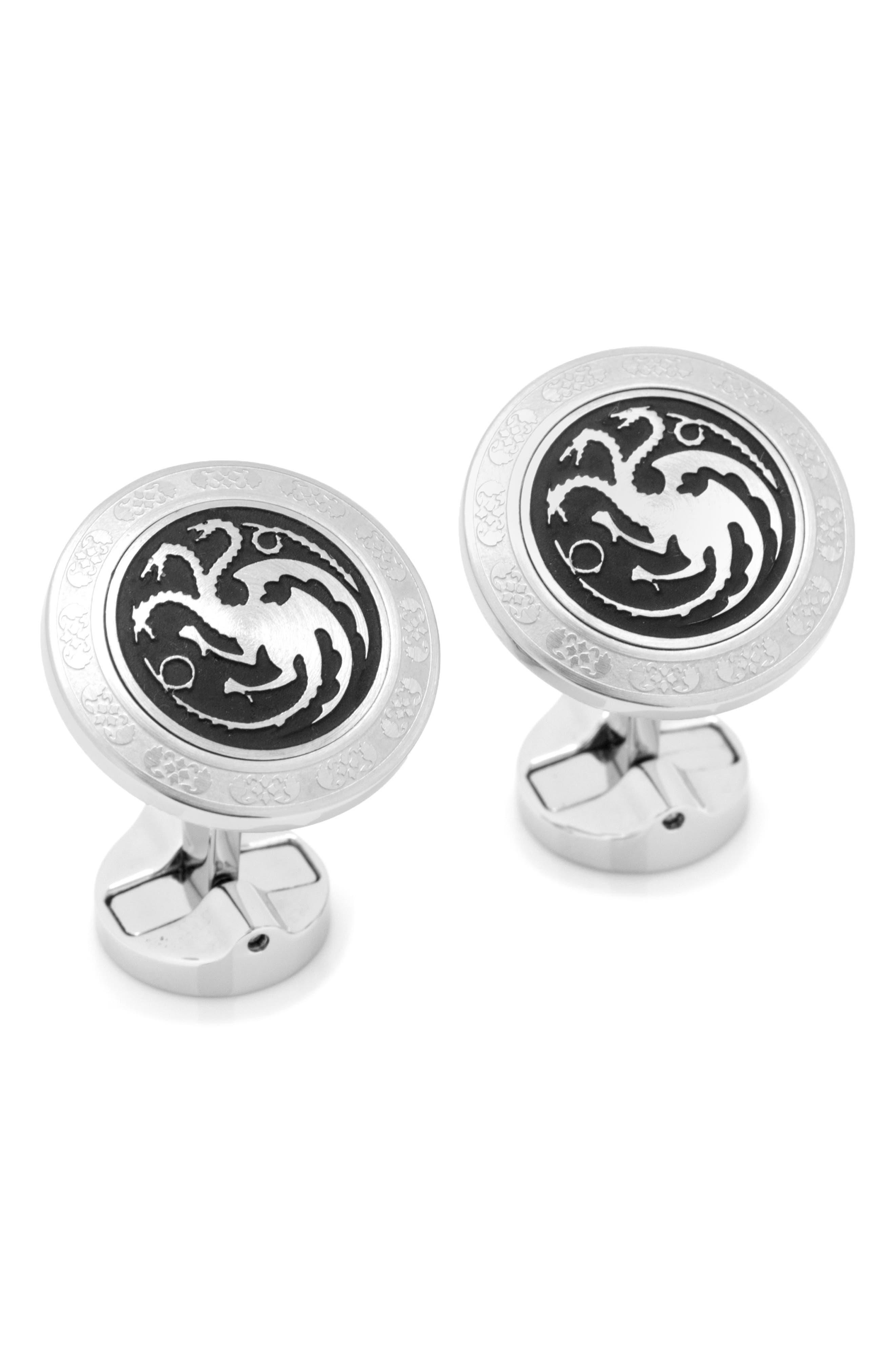 Targaryen Cuff Links,                         Main,                         color, SILVER/ BLACK