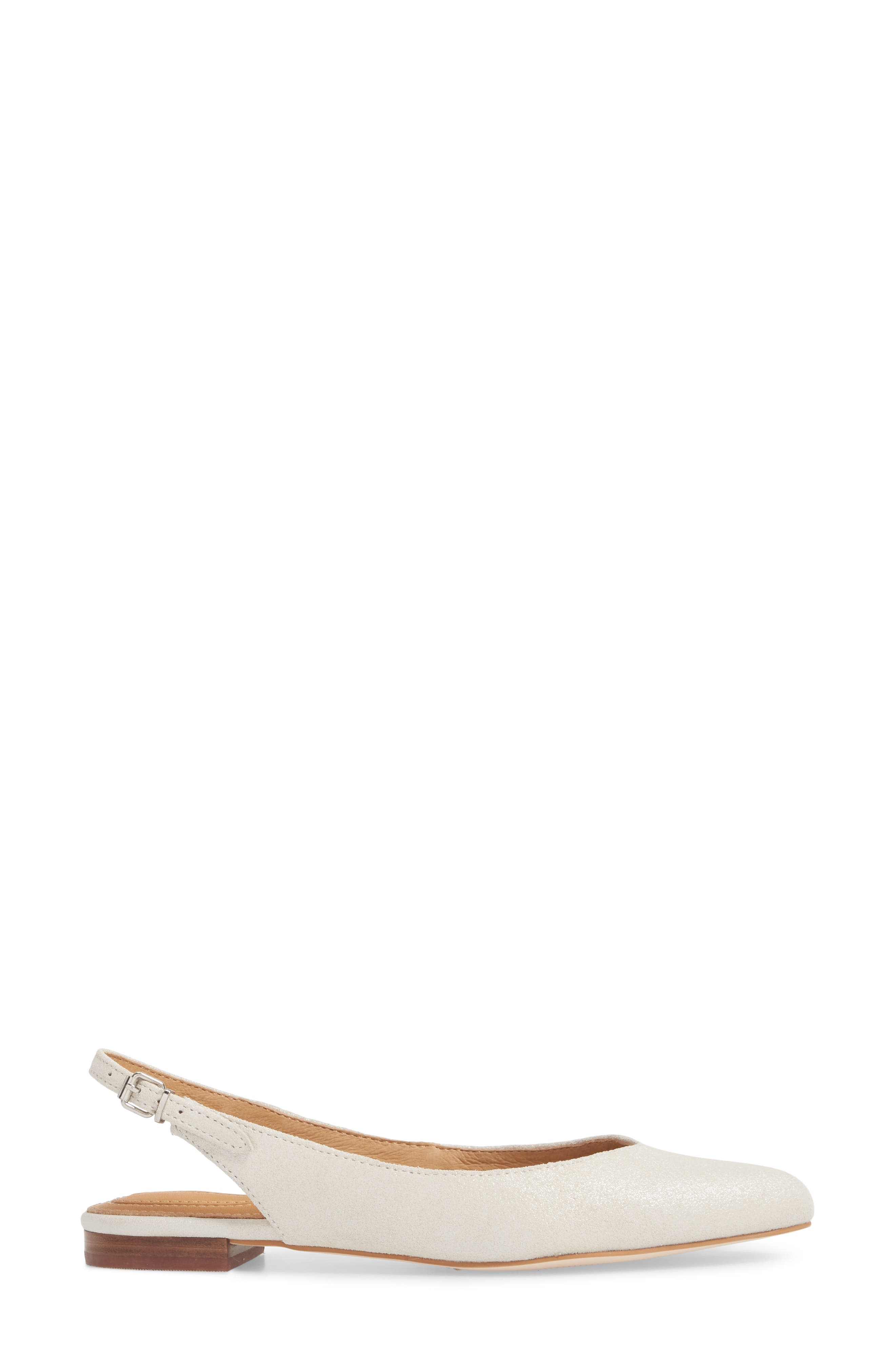 Jackey Slingback Flat,                             Alternate thumbnail 3, color,                             PLATINUM LEATHER