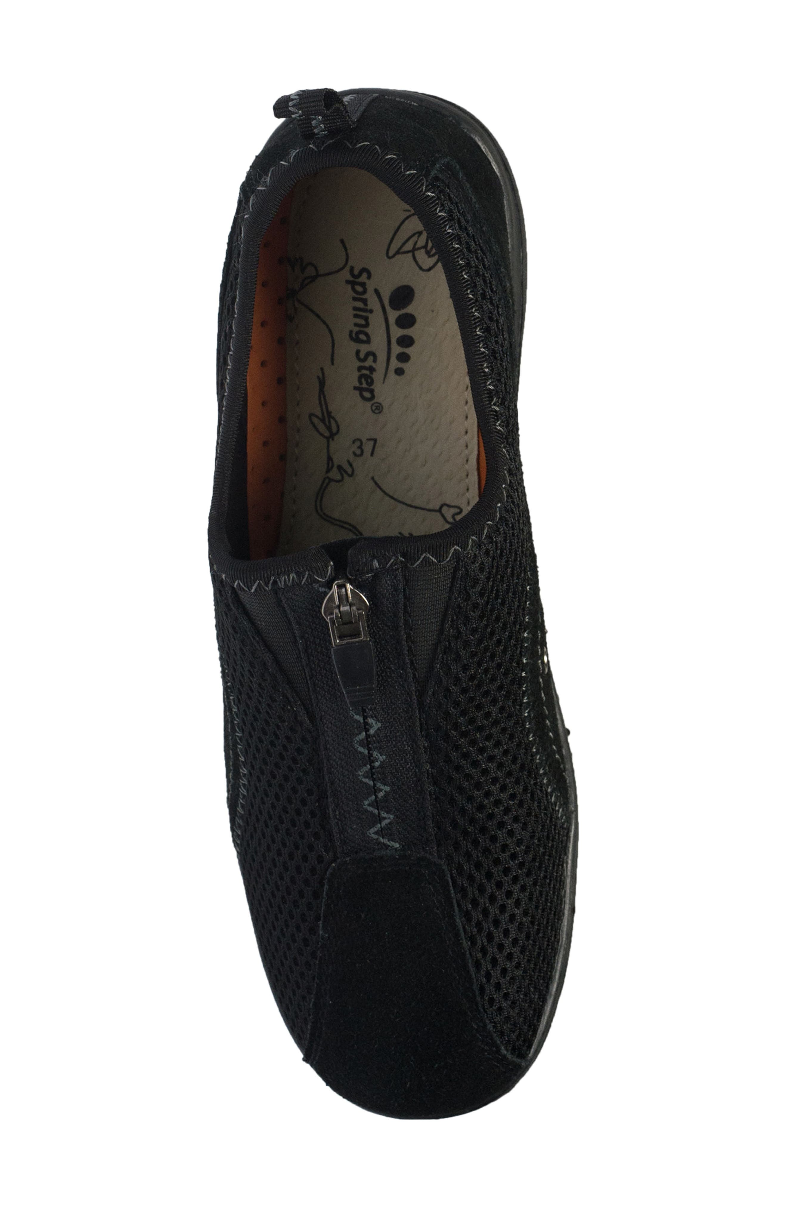 Racer Slip-On Sneaker,                             Alternate thumbnail 4, color,                             BLACK LEATHER