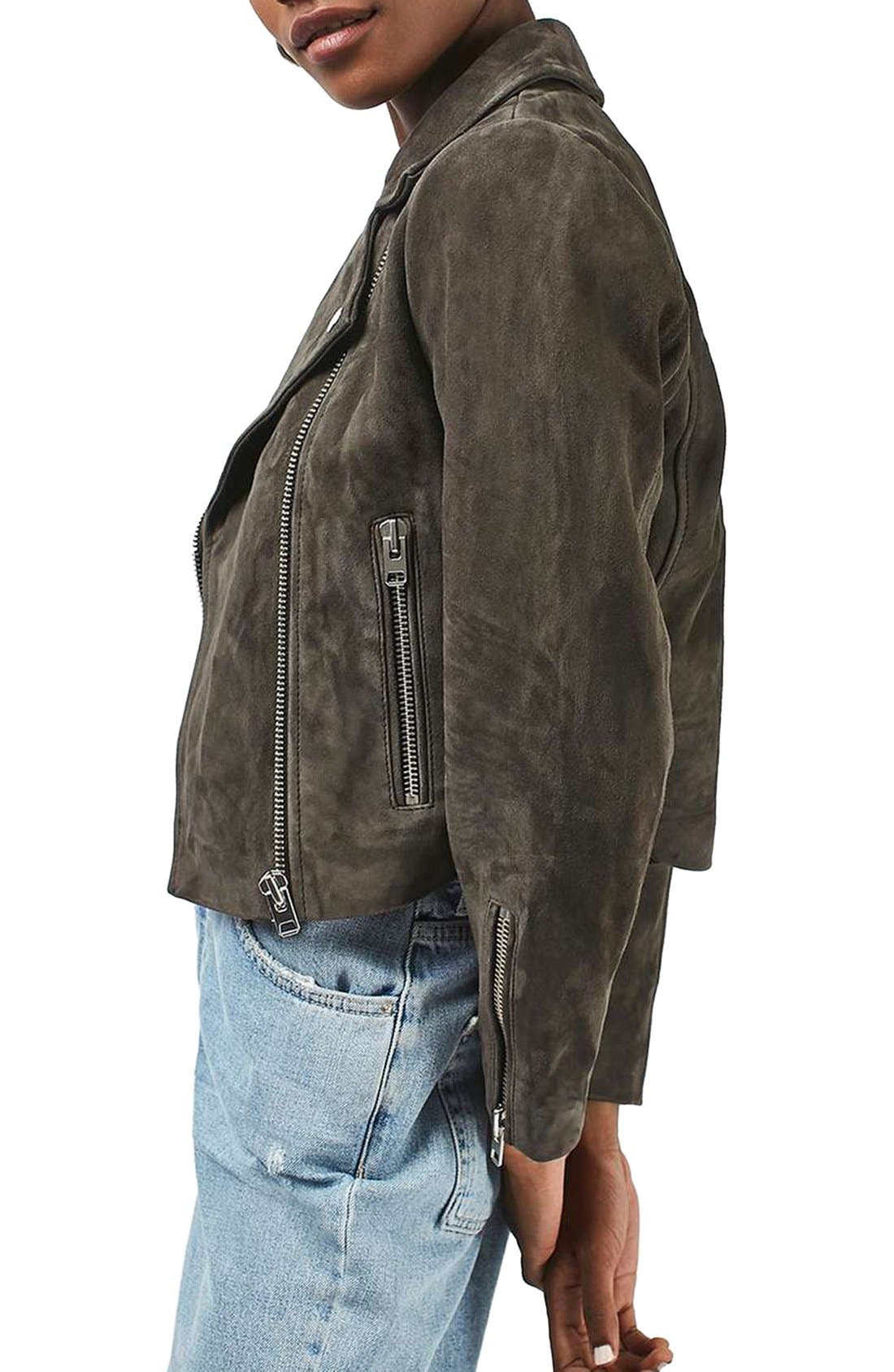 'Julie' Suede Moto Jacket,                         Main,                         color, 021