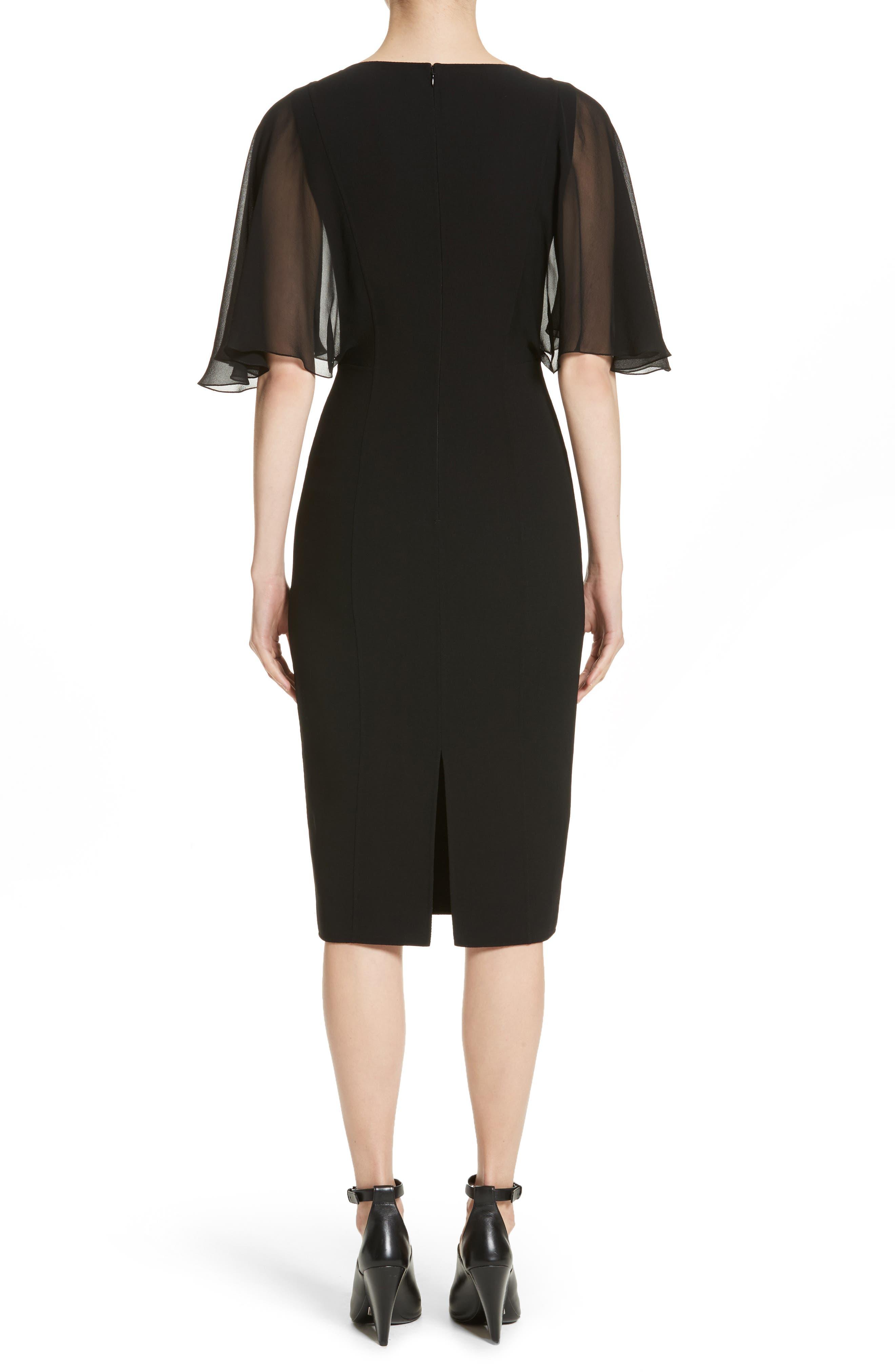Draped Chiffon Sleeve Dress,                             Alternate thumbnail 2, color,                             001
