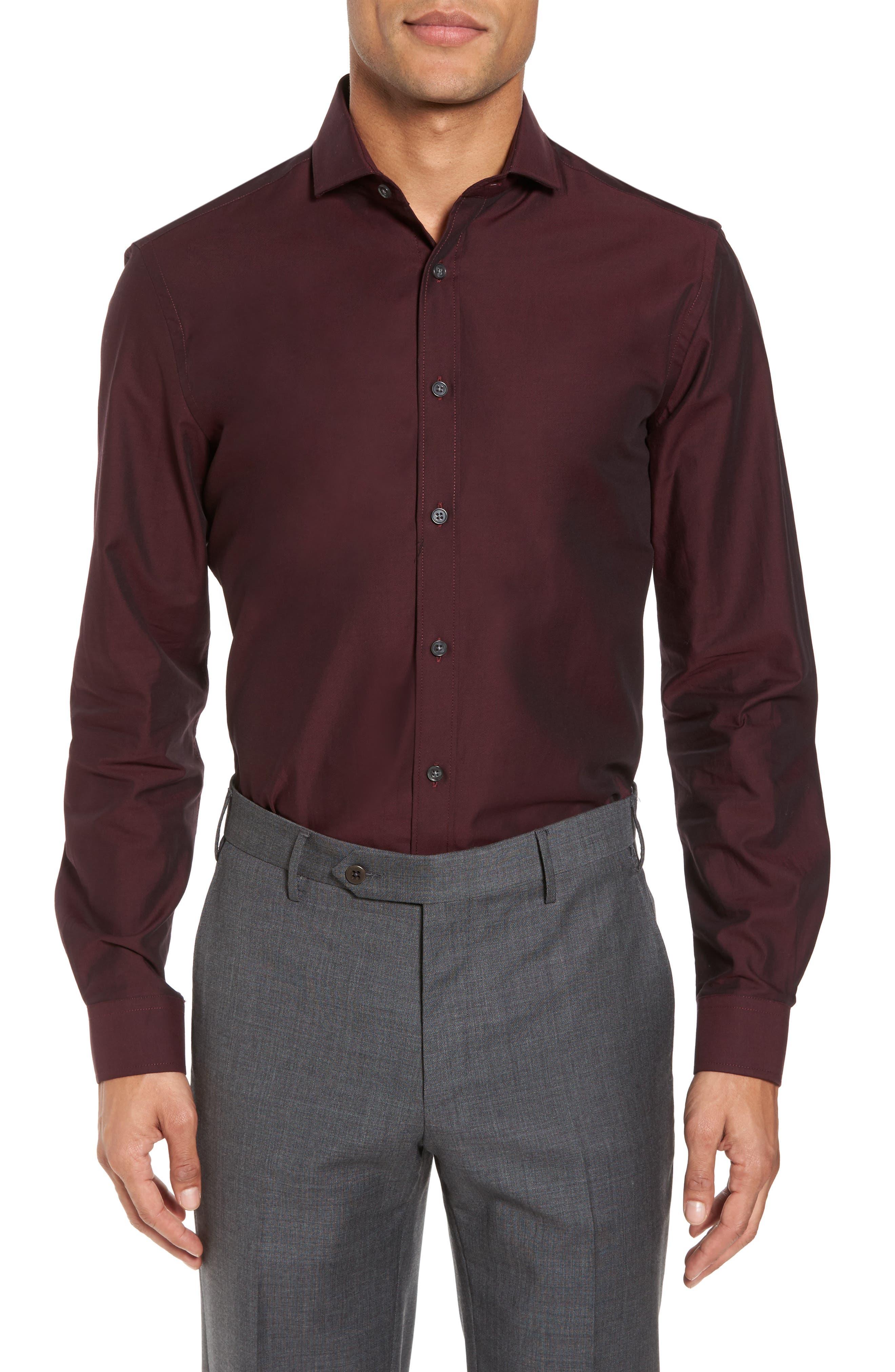 DUCHAMP Trim Fit Solid Dress Shirt, Main, color, 930