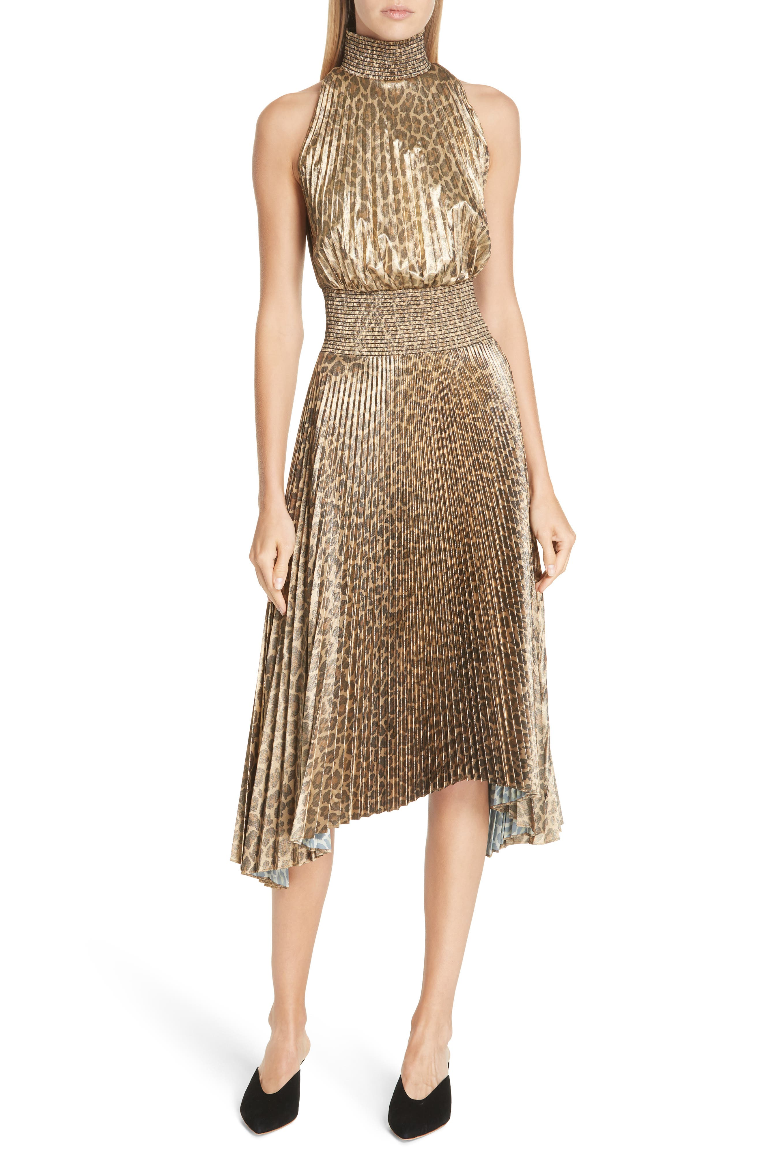 70s Prom, Formal, Evening, Party Dresses Womens A.l.c. Renzo Leopard Print Metallic Foil Dress $476.98 AT vintagedancer.com