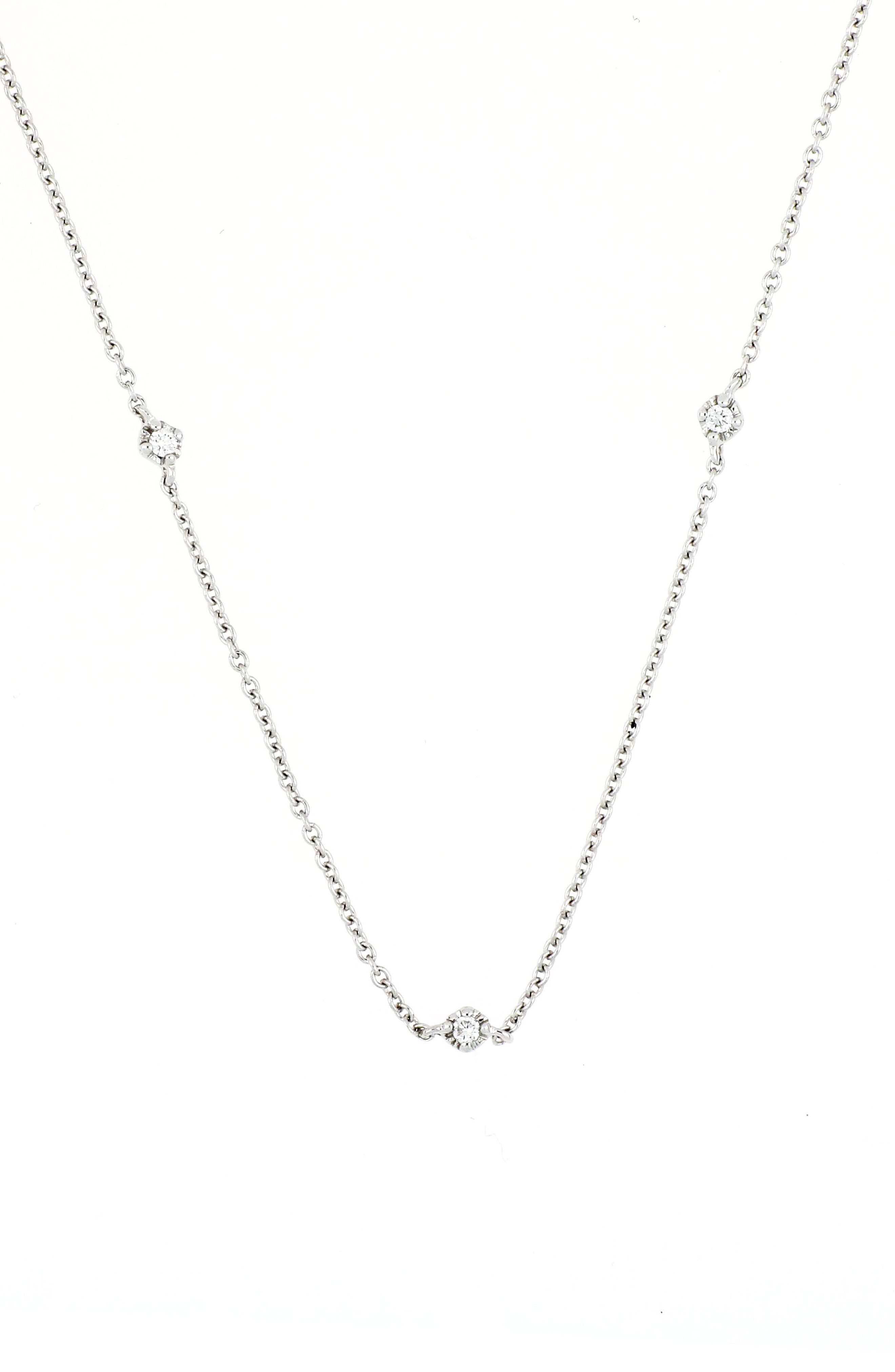 Mila Three-Diamond Short Station Necklace,                             Main thumbnail 1, color,                             WHITE GOLD