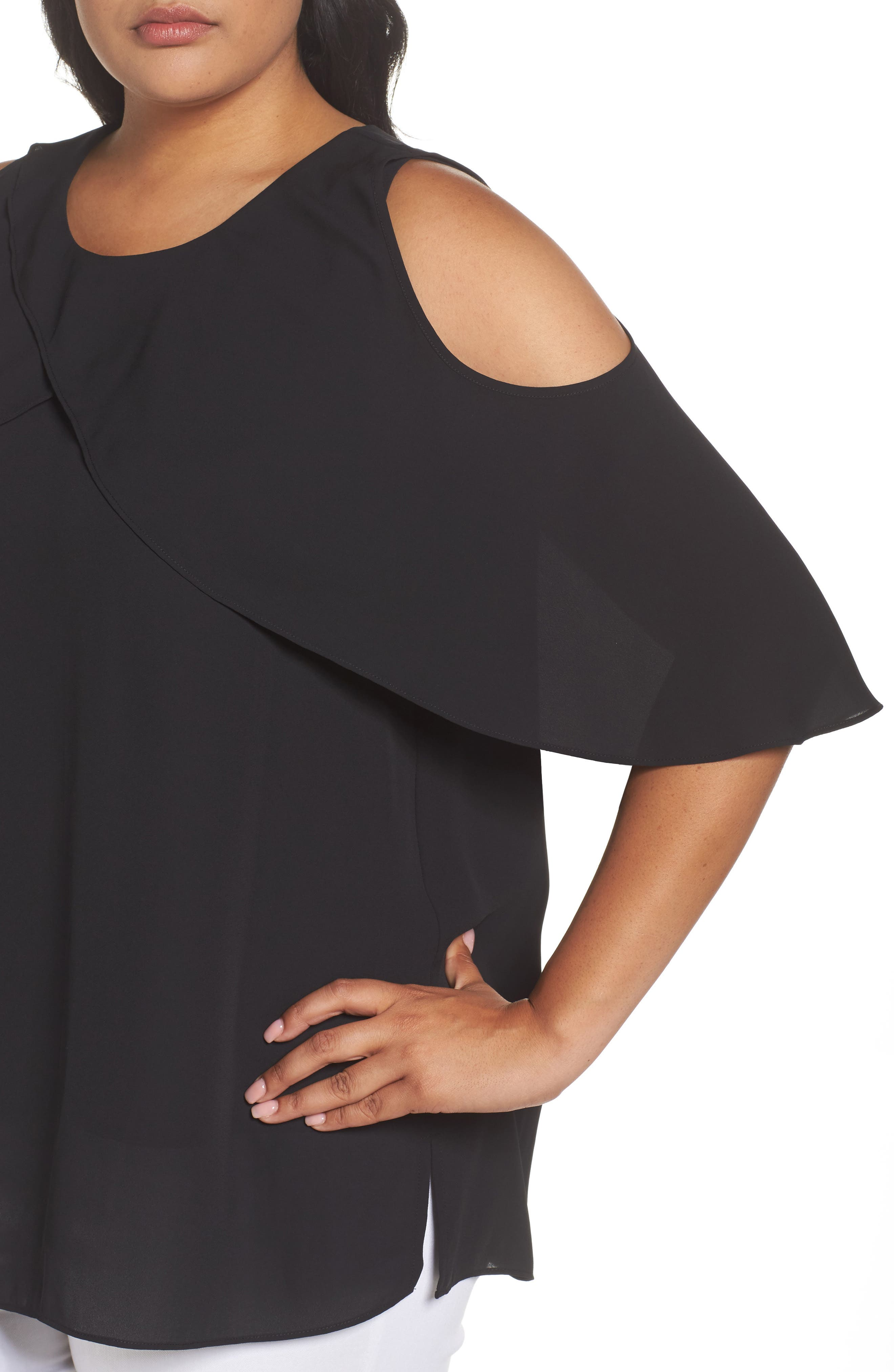 Cold Shoulder Ruffled Blouse,                             Alternate thumbnail 17, color,