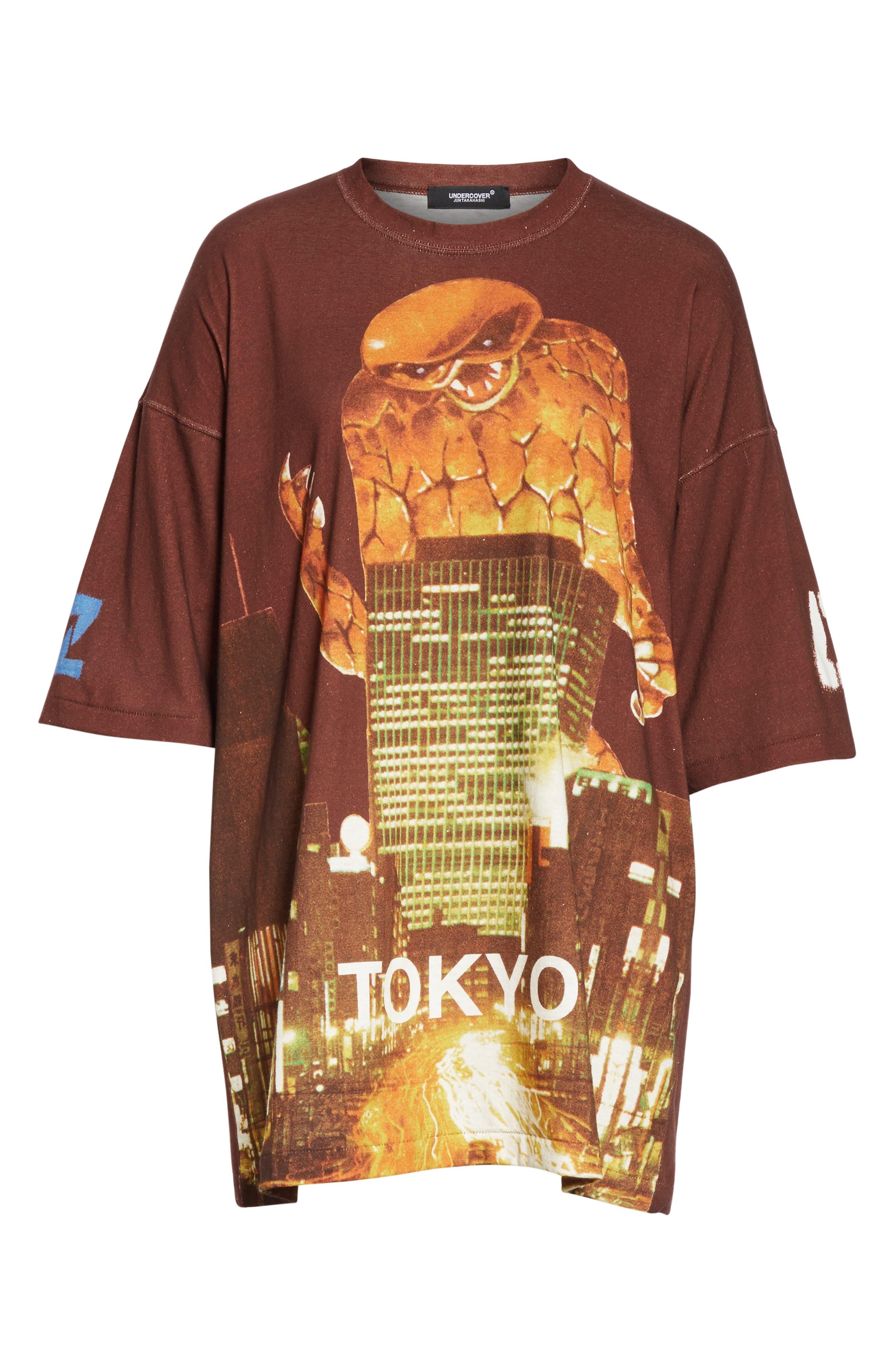 Godzilla City Oversize Tee,                             Alternate thumbnail 6, color,                             BORDEAUX