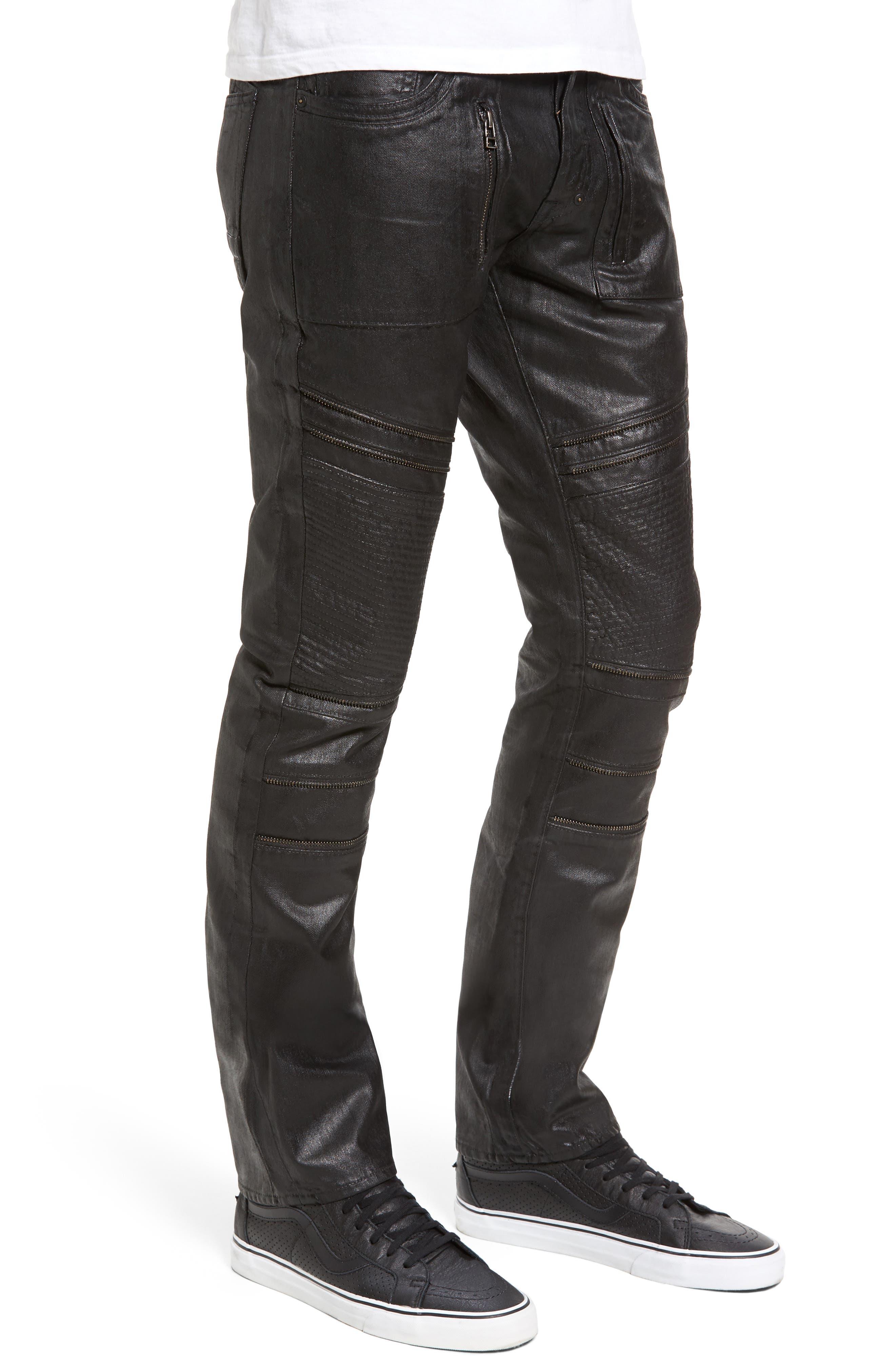 Demon Slim Straight Coated Jeans,                             Alternate thumbnail 3, color,                             BLACK