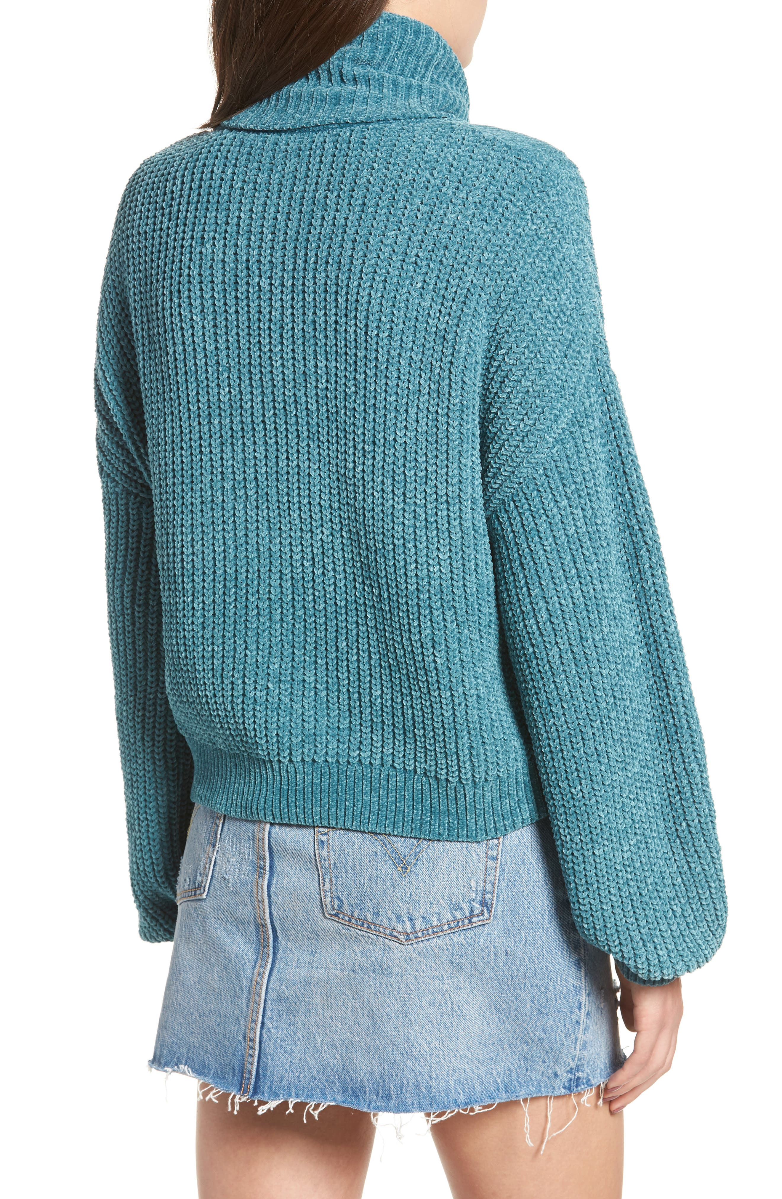 Cable Knit Chenille Sweater,                             Alternate thumbnail 2, color,                             TEAL HYDRO
