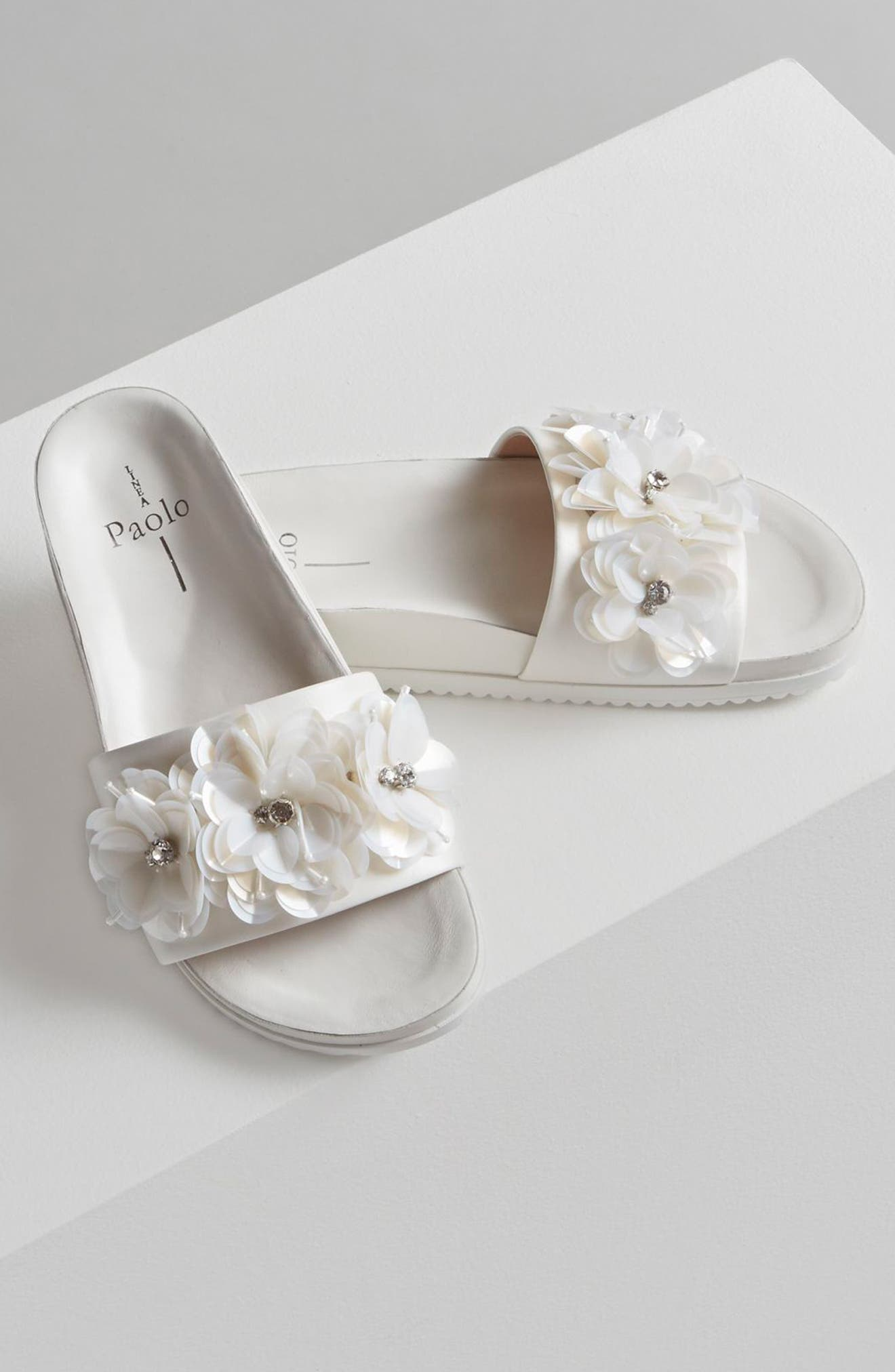 Lotus Embellished Flower Sandal Slide,                             Alternate thumbnail 7, color,                             002